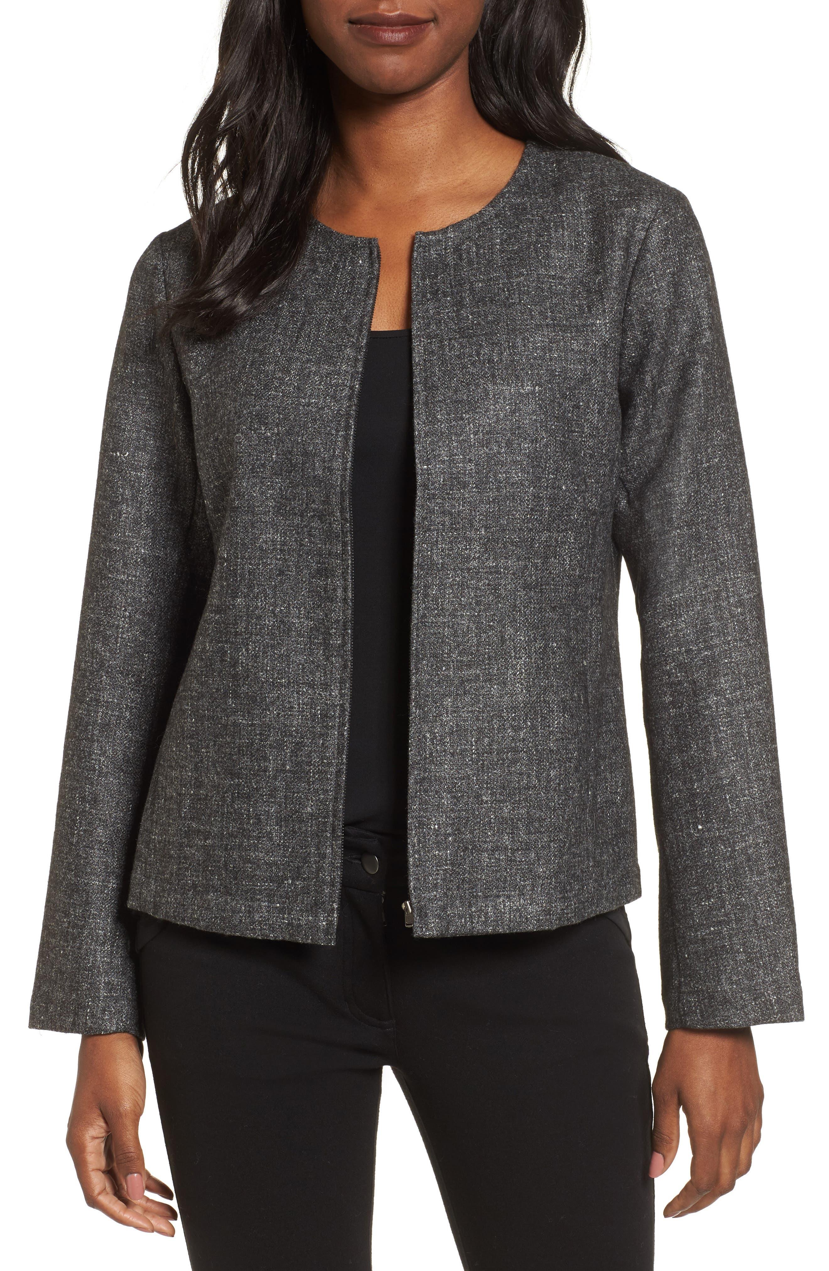 Tweed Jacket,                             Main thumbnail 1, color,                             Charcoal