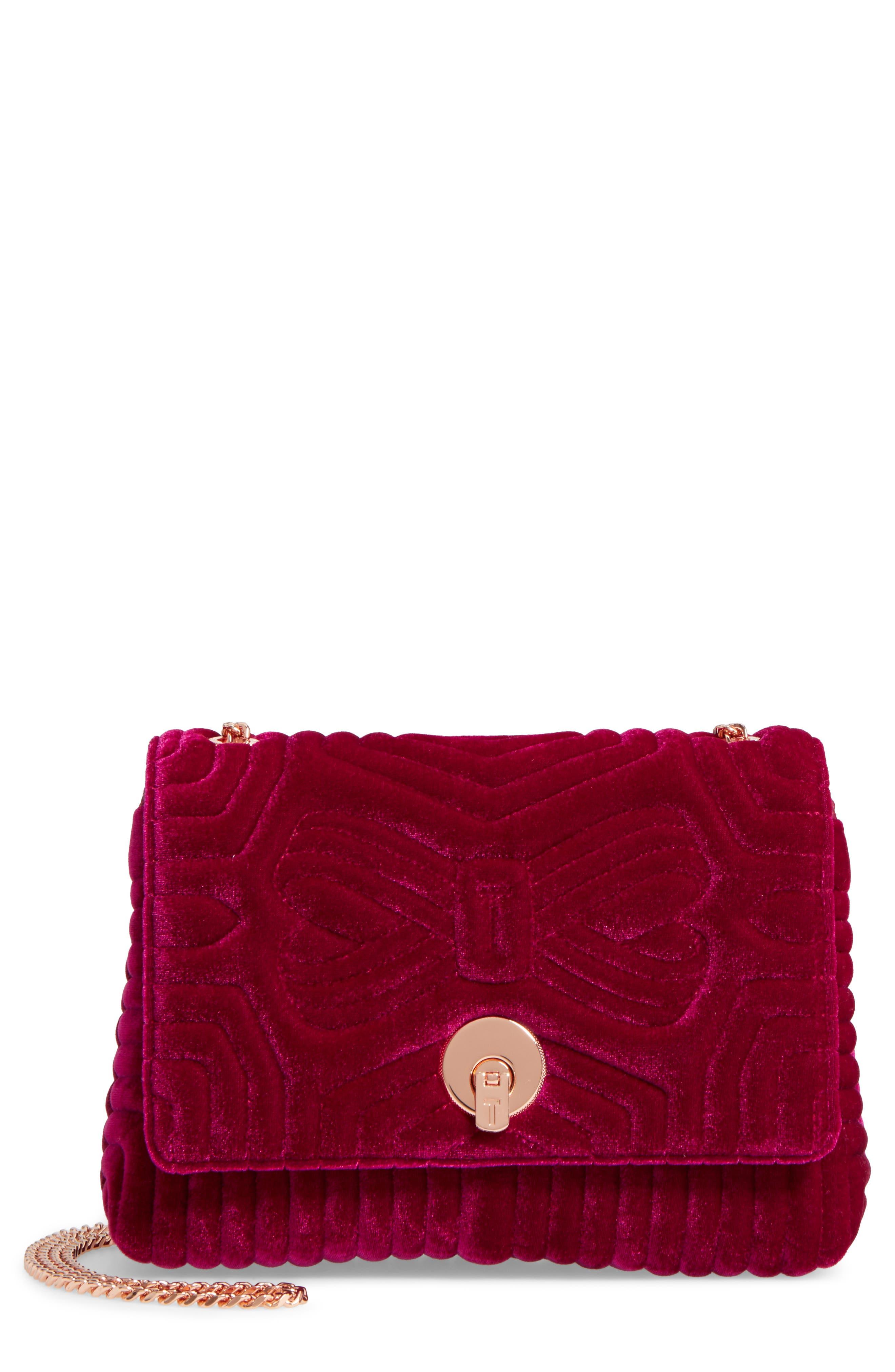Main Image - Ted Baker London Quilted Velvet Crossbody Bag