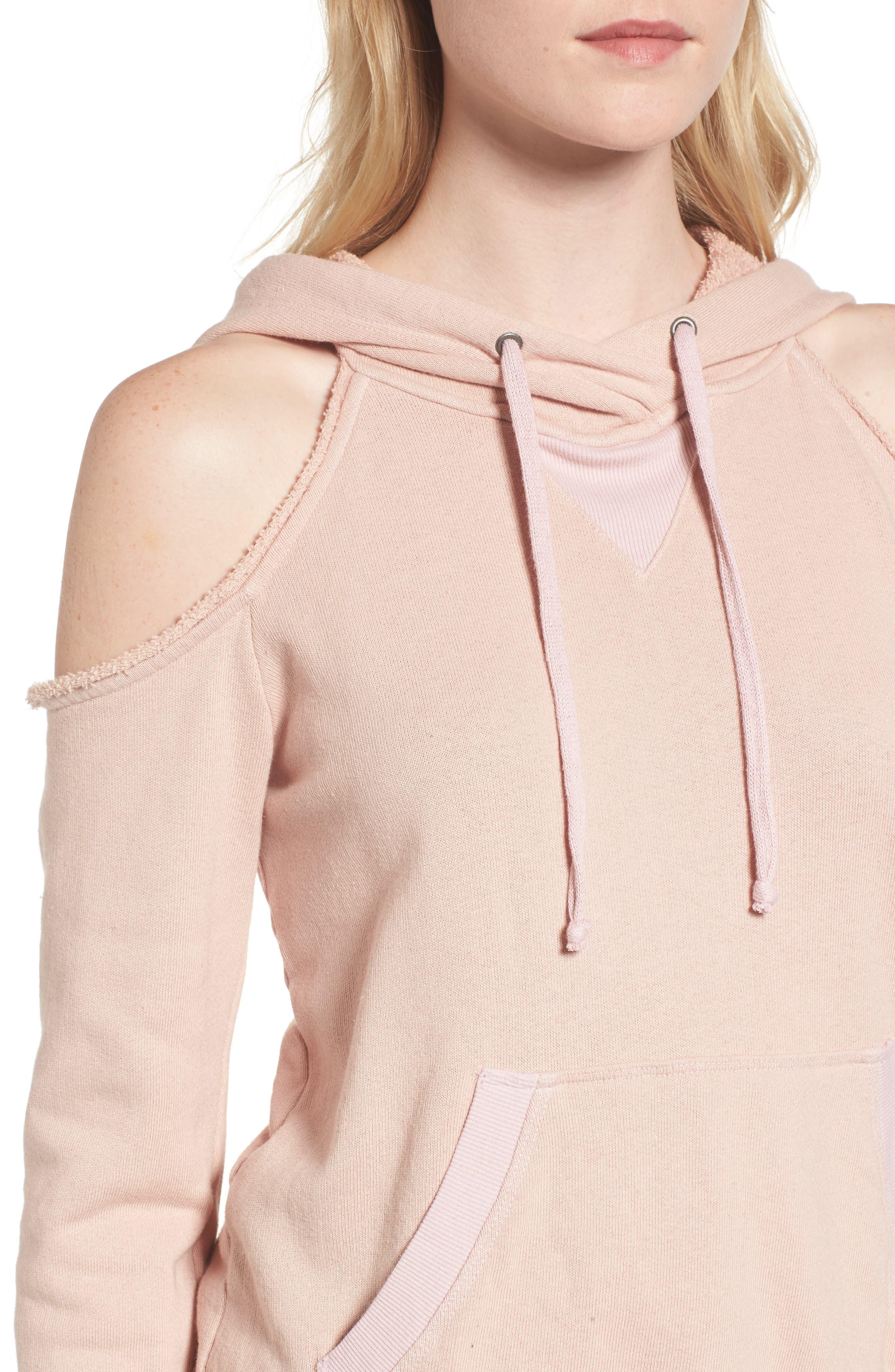 Cold Shoulder Hoodie,                             Alternate thumbnail 4, color,                             Pink Beige