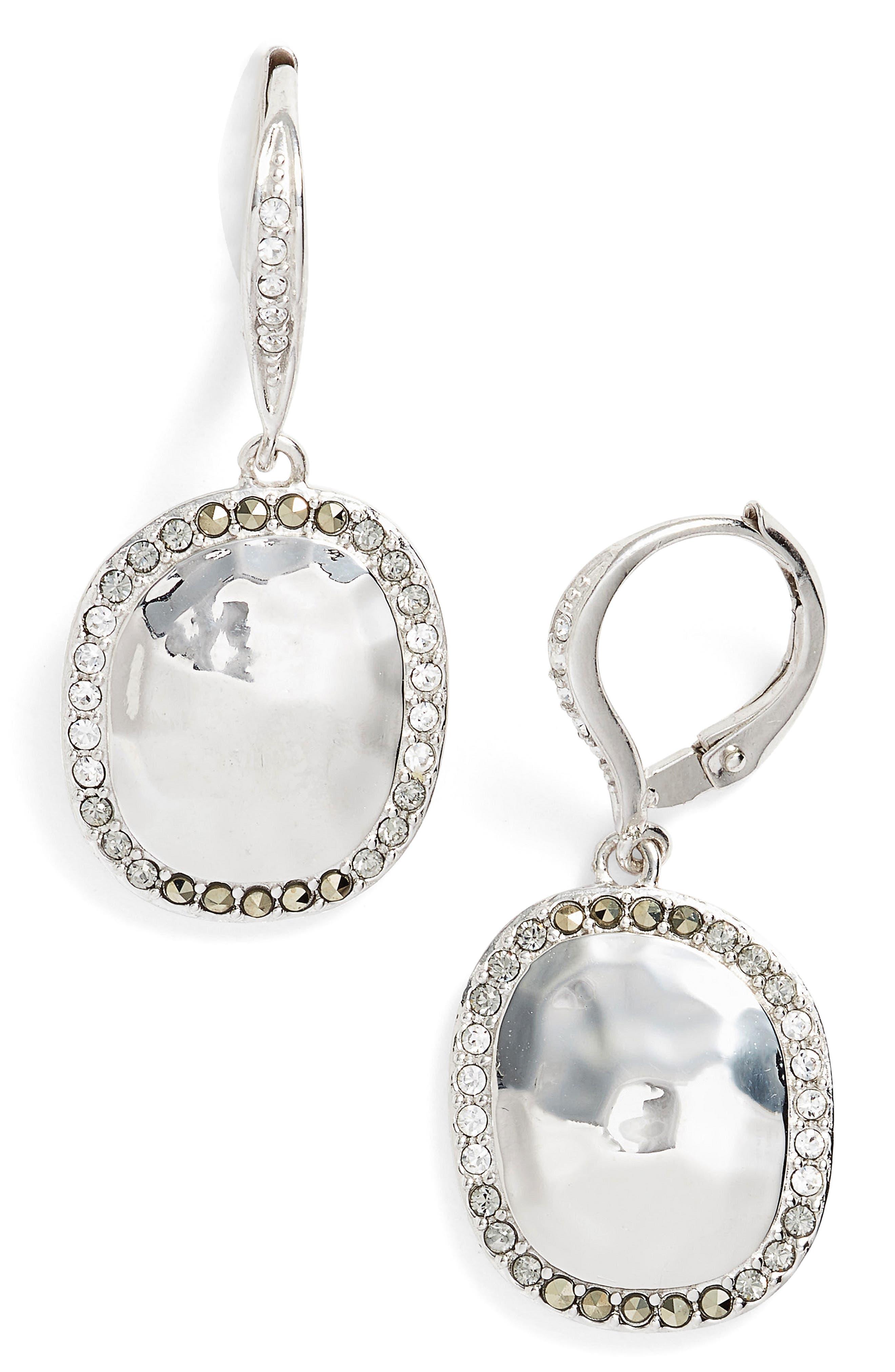 Semiprecious Stone Drop Earrings,                         Main,                         color, Silver