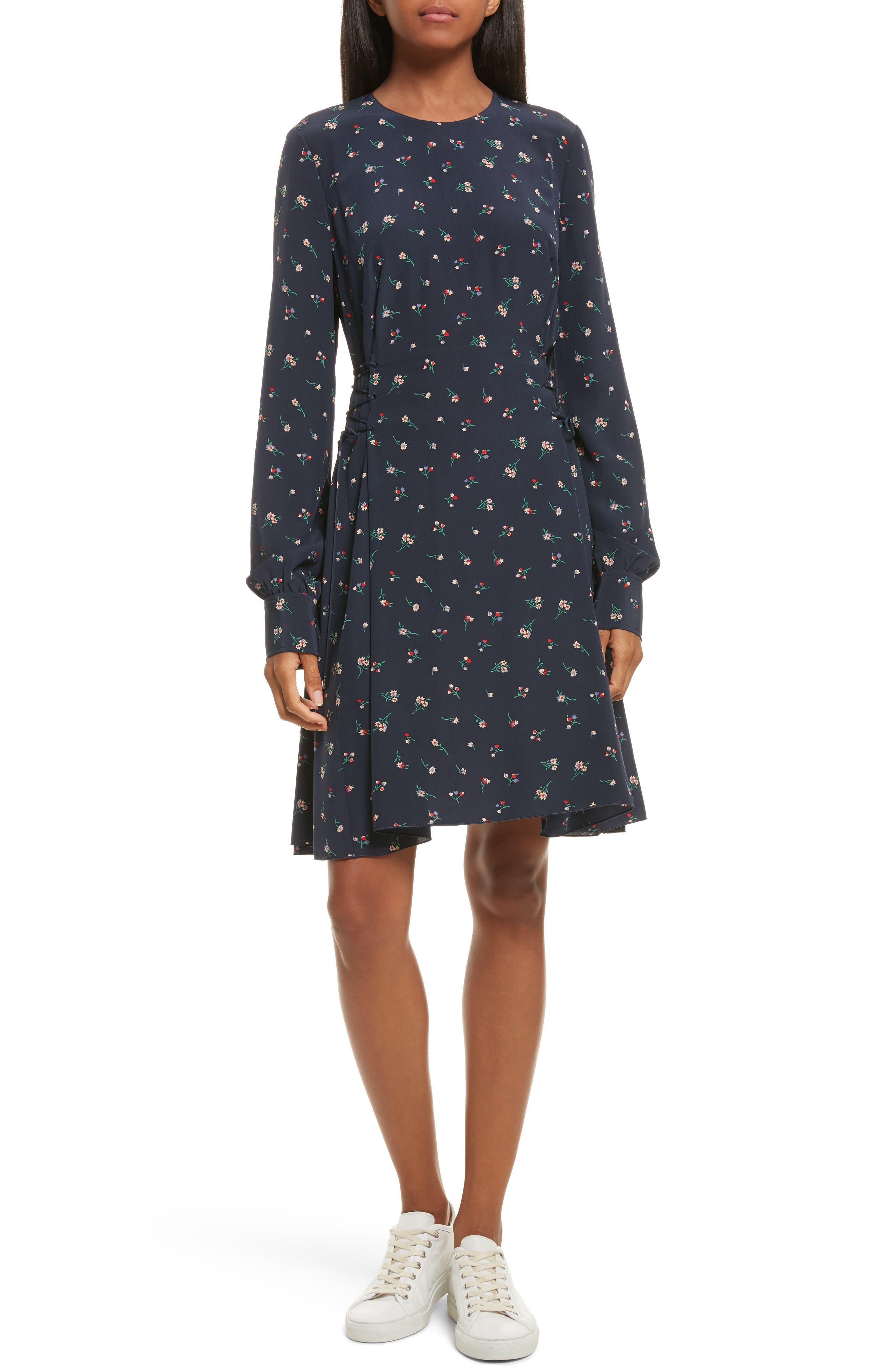 Floral Print Lace-Up Silk Dress,                         Main,                         color, Deep Navy