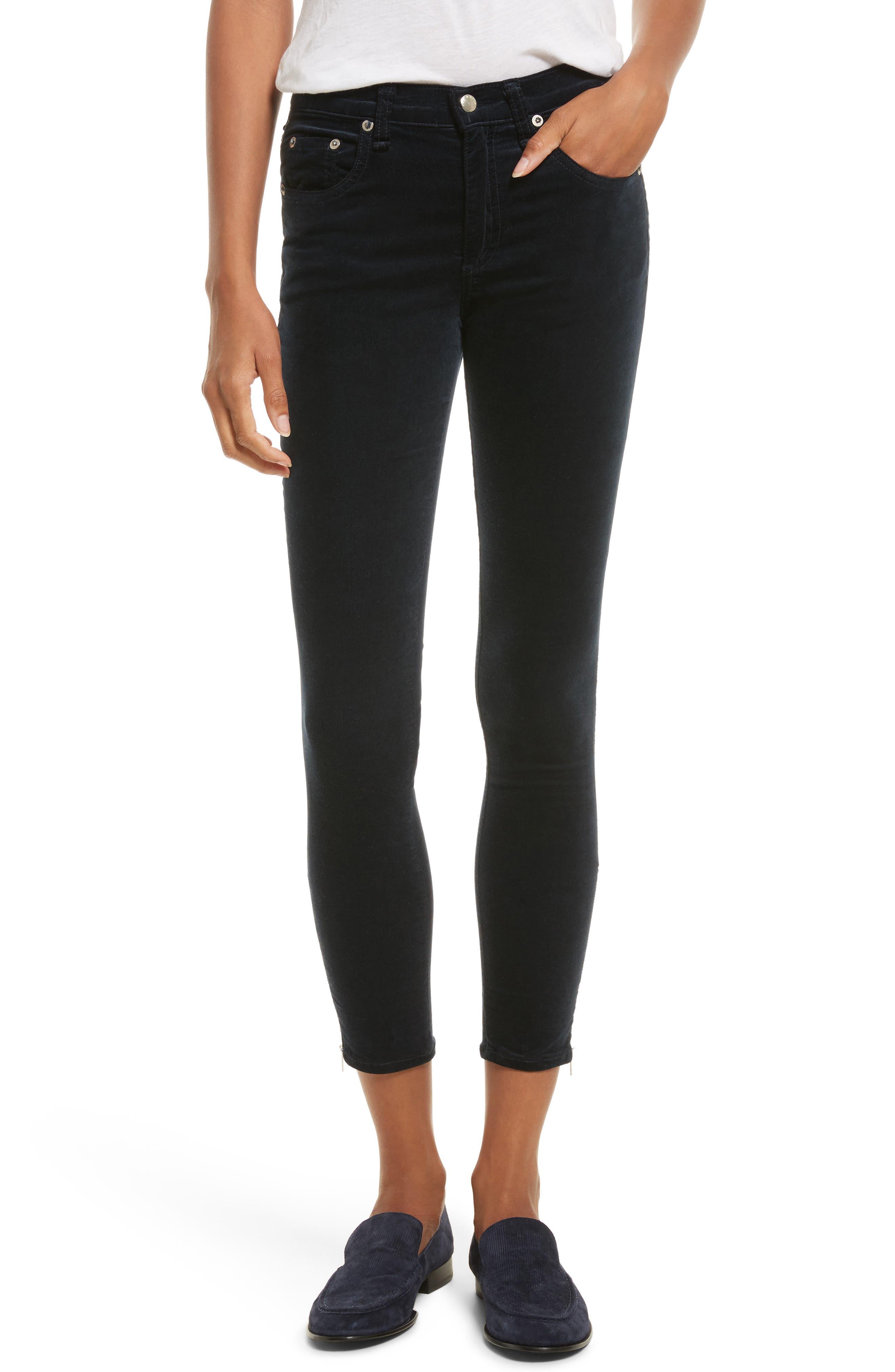 rag & bone/JEAN Ame Crop Skinny Jeans (Navy Velvet)