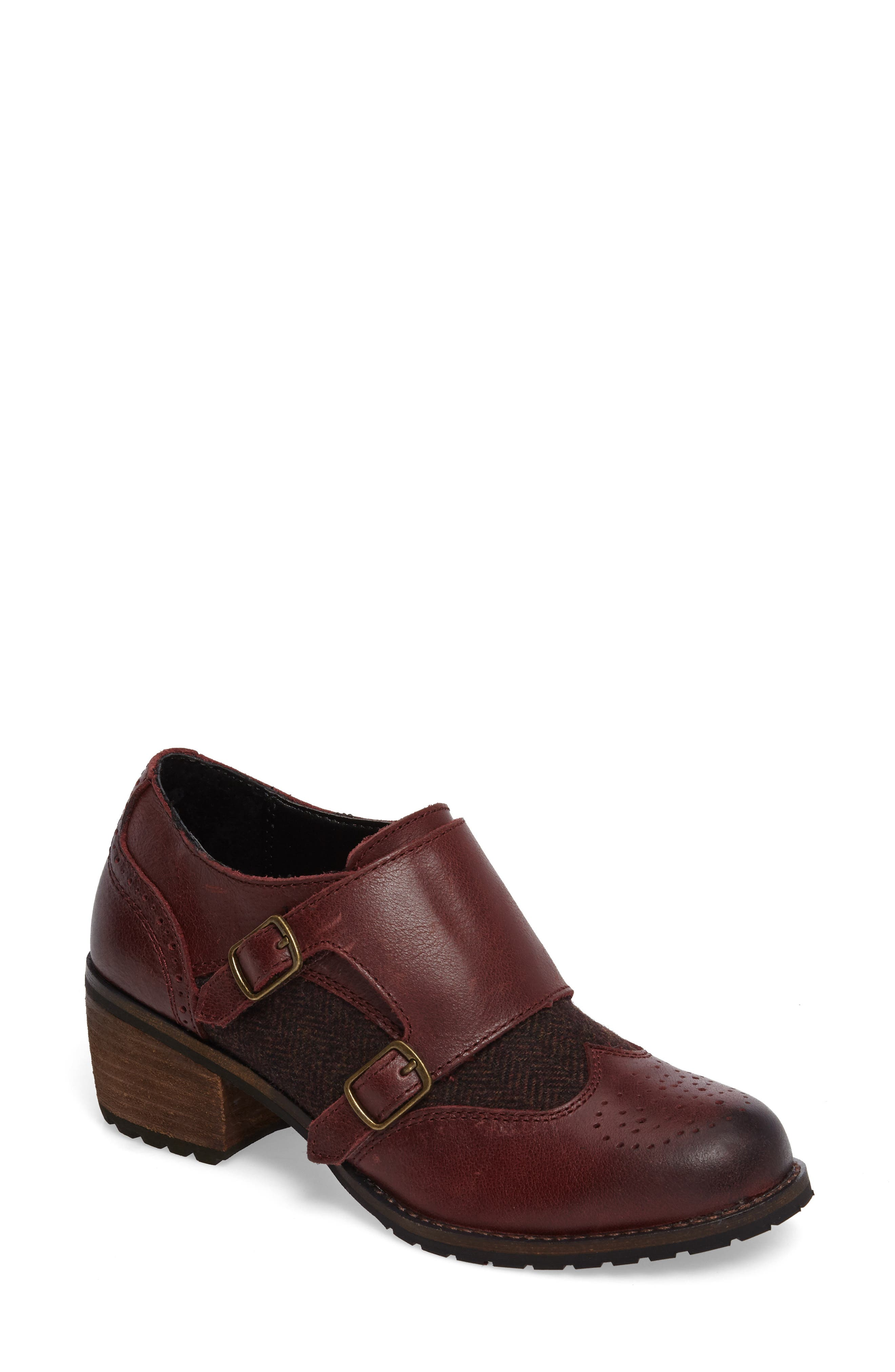 Dina Double Monk Strap Ankle Boot,                             Main thumbnail 1, color,                             Merlot Leather