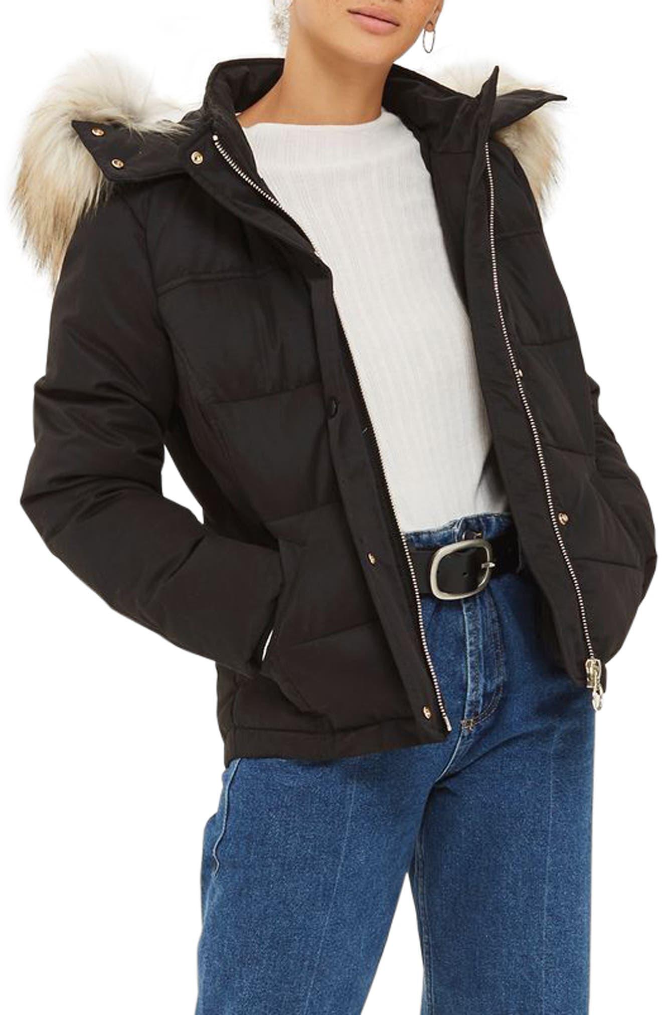 Main Image - Topshop Jerry Faux Fur Trim Puffer Jacket