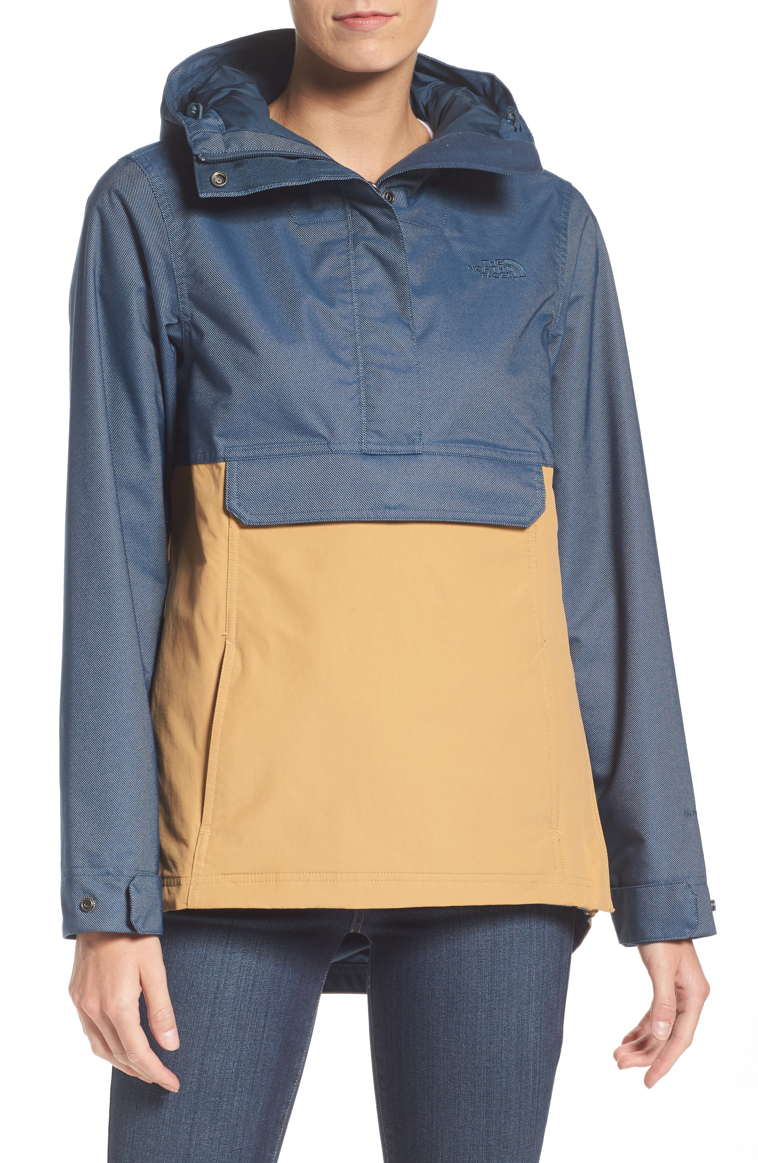 Cadet Anorak Rain Jacket,                         Main,                         color, Biscuit Tan Ink Blue