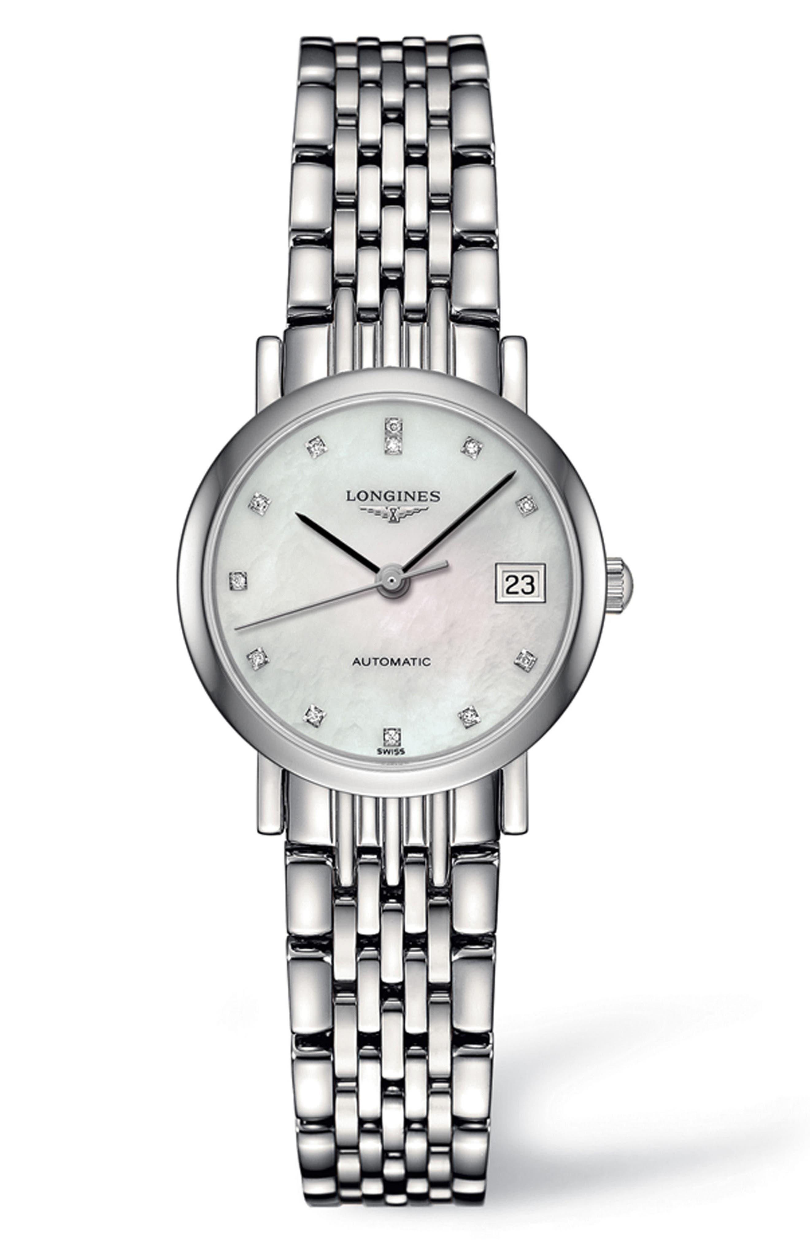 Elegant Automatic Diamond Bracelet Watch, 25.5mm,                             Main thumbnail 1, color,                             Silver/ Mop/ Silver