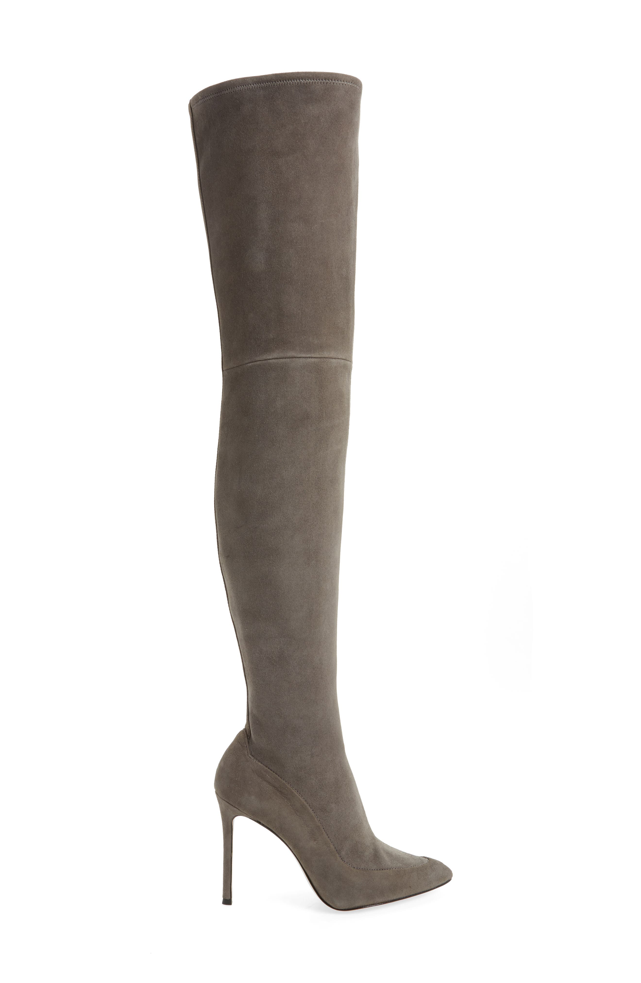 Cassie Thigh High Boot,                             Alternate thumbnail 2, color,                             Anthracite Suede
