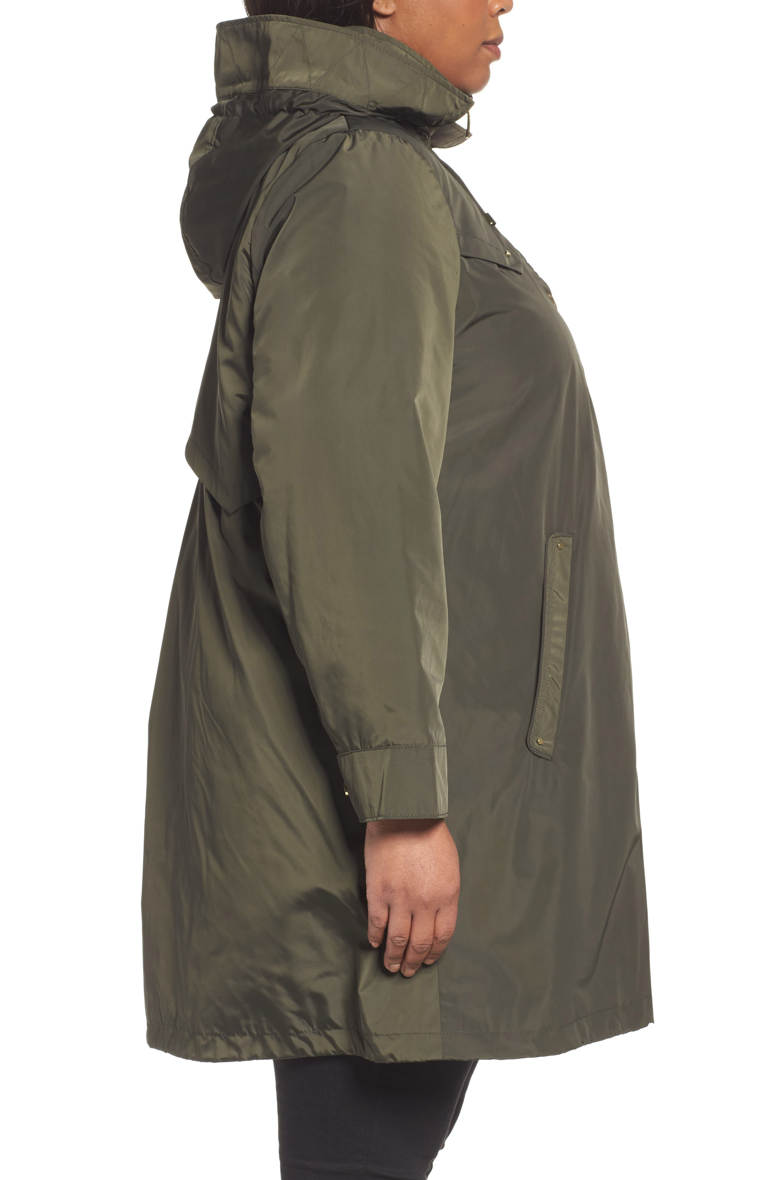 Alternate Image 3  - Via Spiga Hooded Packable Utility Coat (Plus Size)