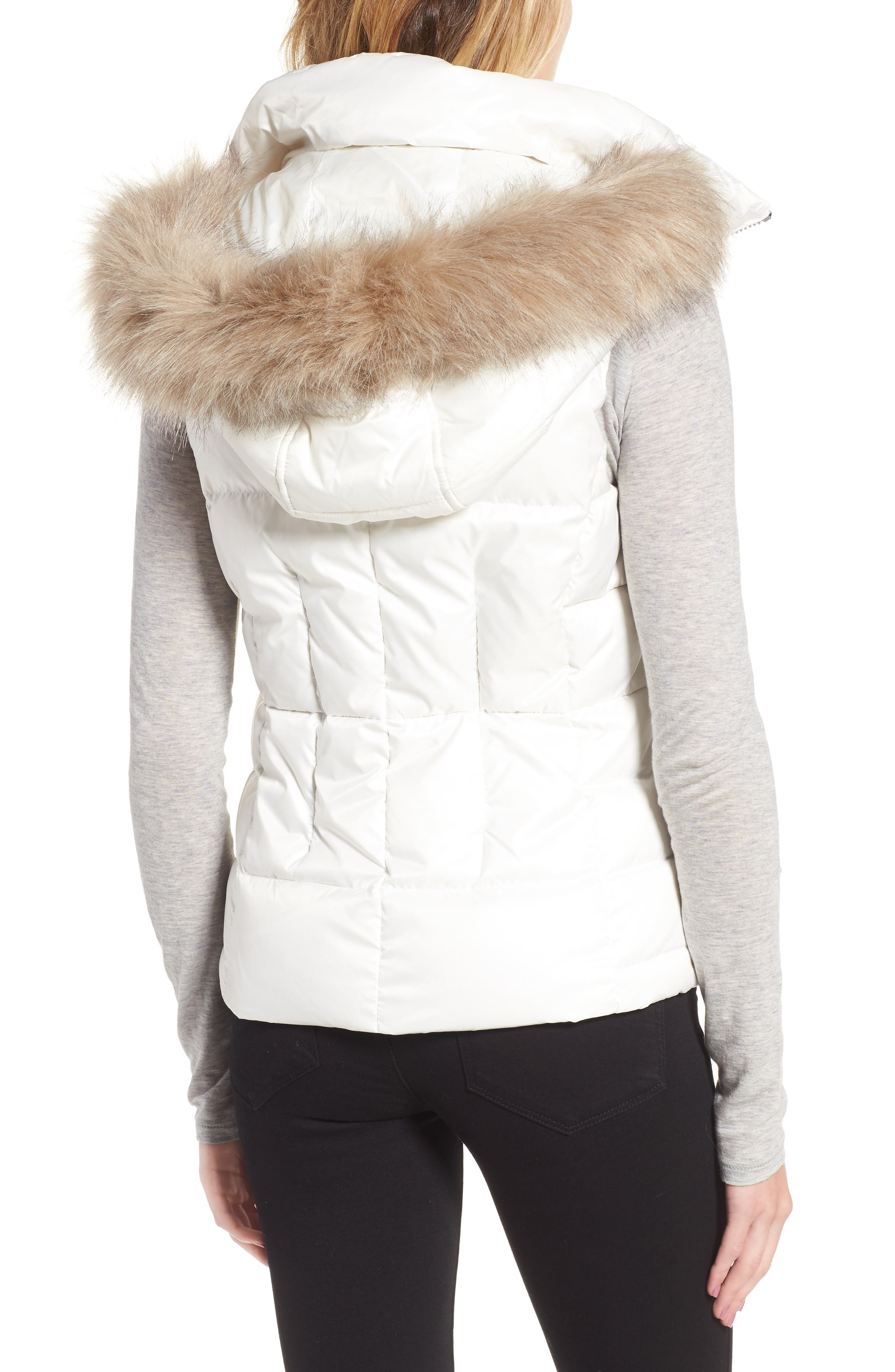 Lanie Puffer Vest with Faux Fur,                             Alternate thumbnail 2, color,                             White