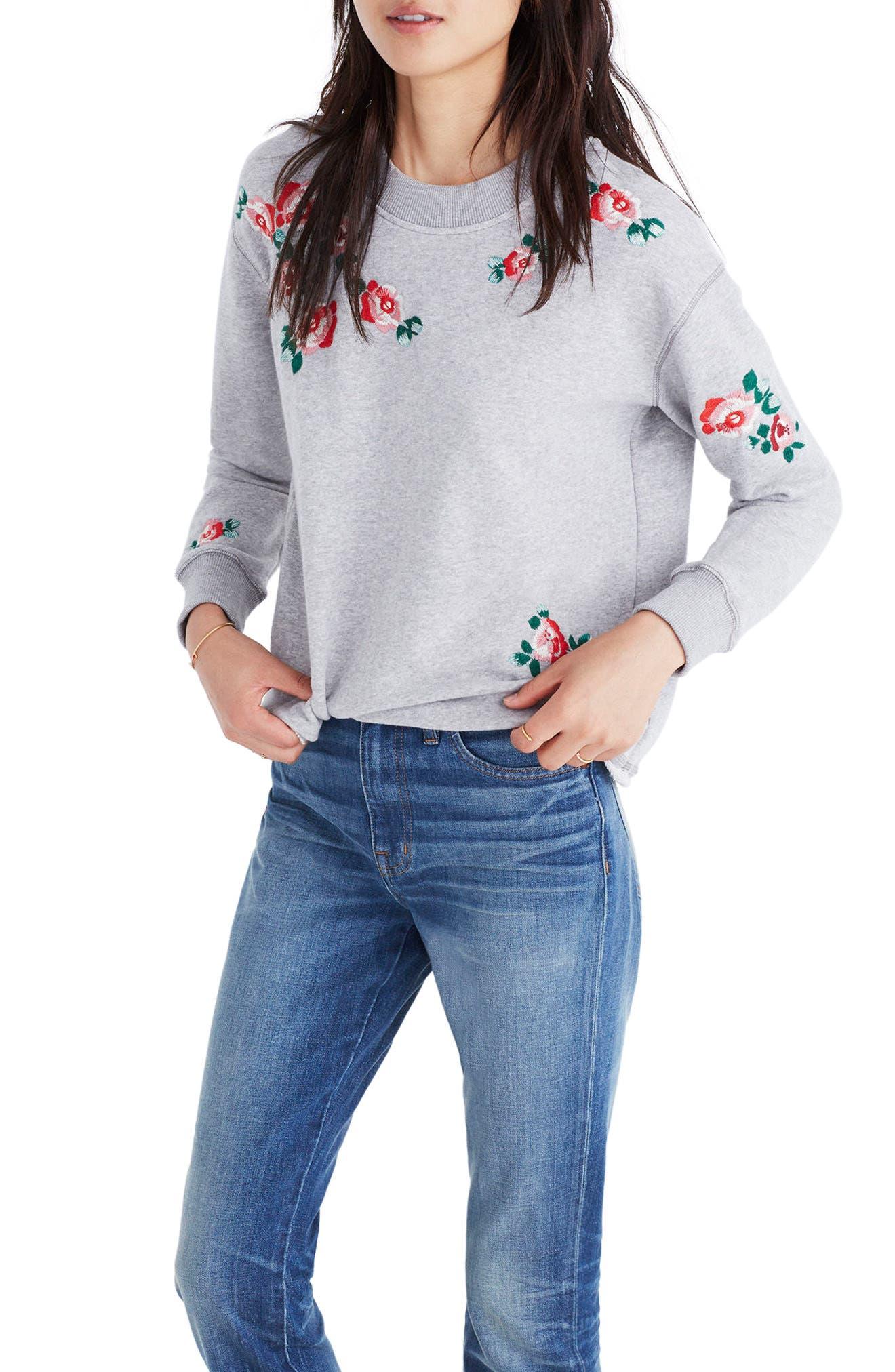 Madewell Embroidered Crop Sweatshirt
