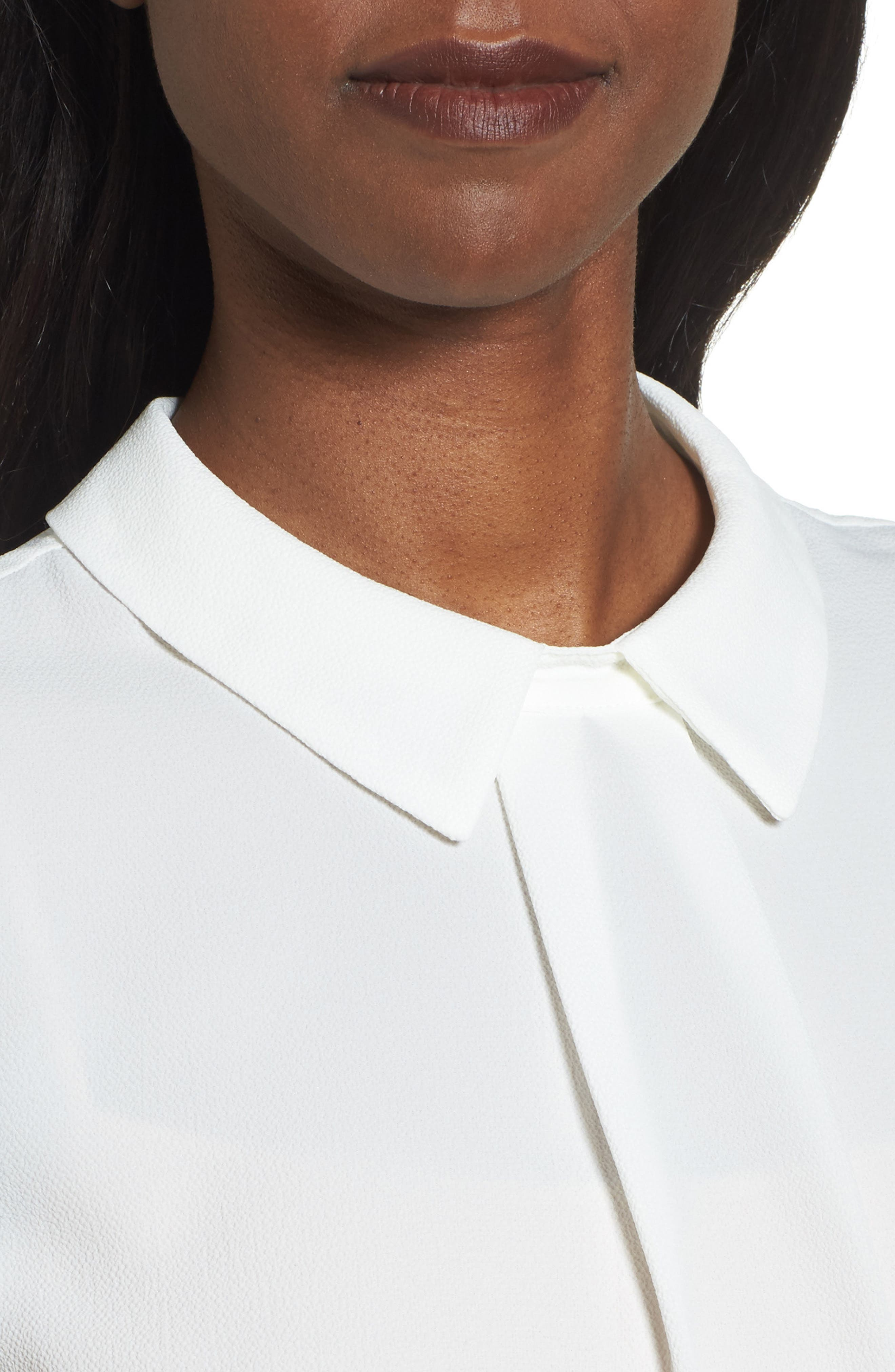 Collared Pleat Front Blouse,                             Alternate thumbnail 4, color,                             New Ivory