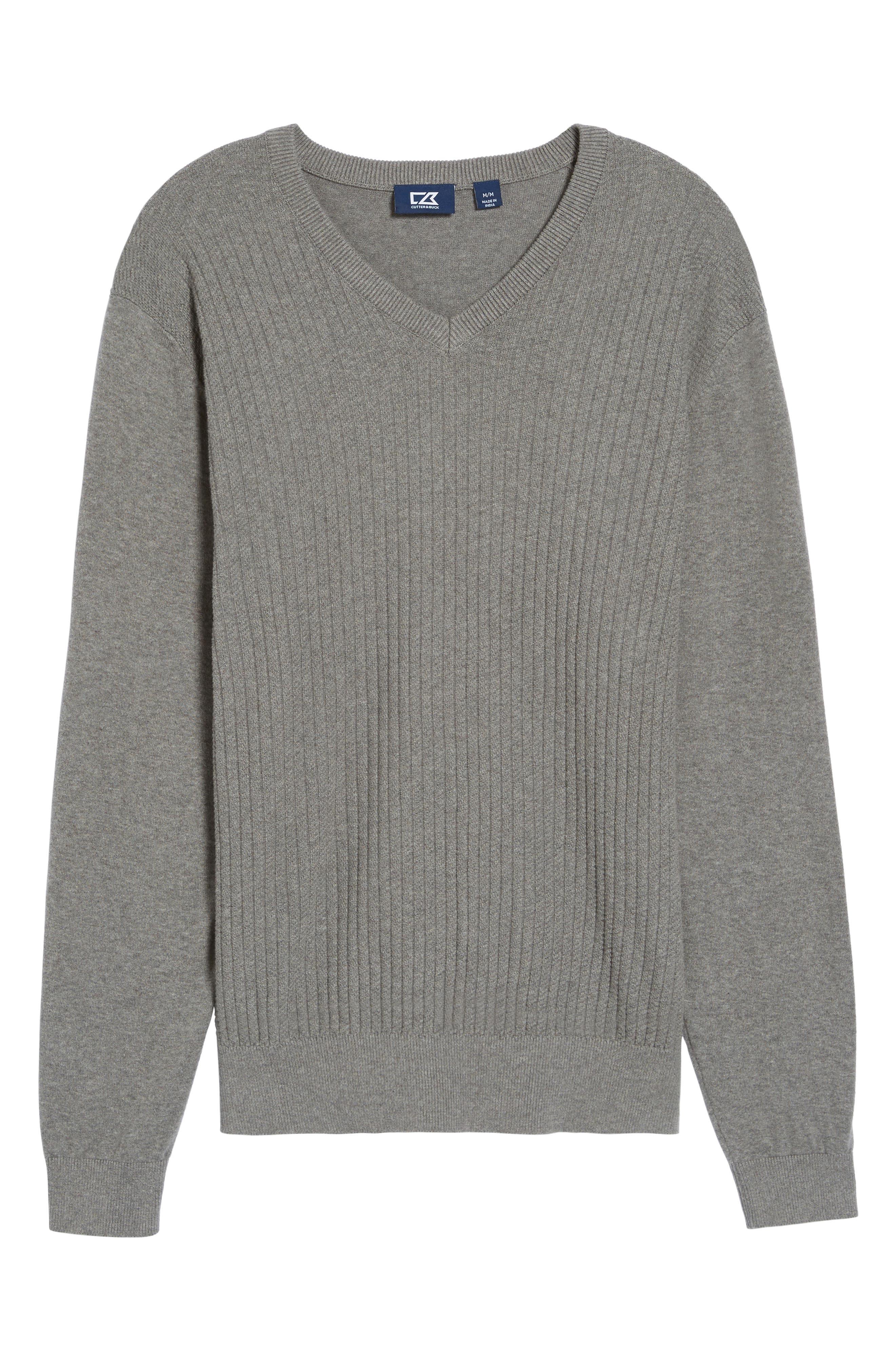 Bryant Rib-Knit V-Neck Sweater,                             Alternate thumbnail 6, color,                             Mid Grey Heather