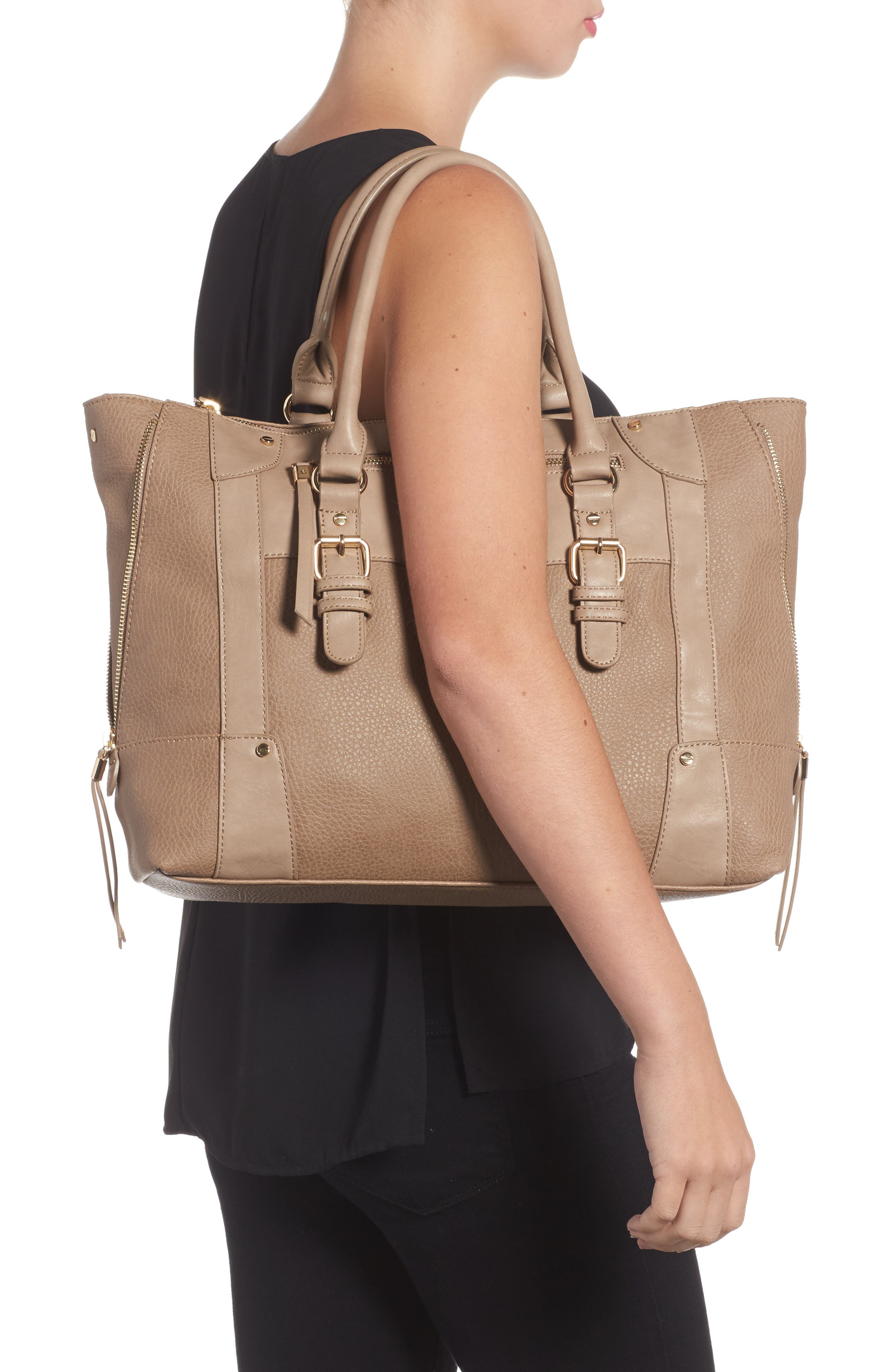 'Susan' Winged Faux Leather Tote,                             Alternate thumbnail 2, color,                             Mushroom