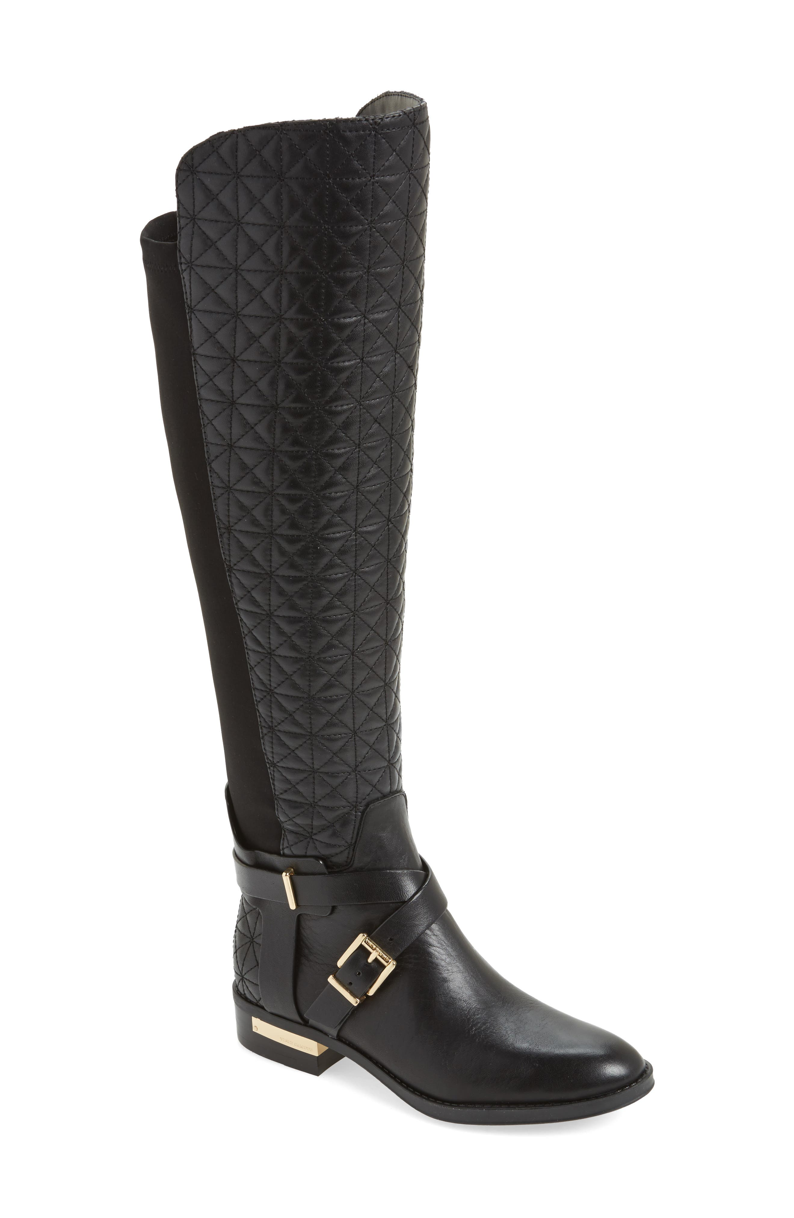 Patira Over the Knee Boot,                             Main thumbnail 1, color,                             Black Leather Wide Calf