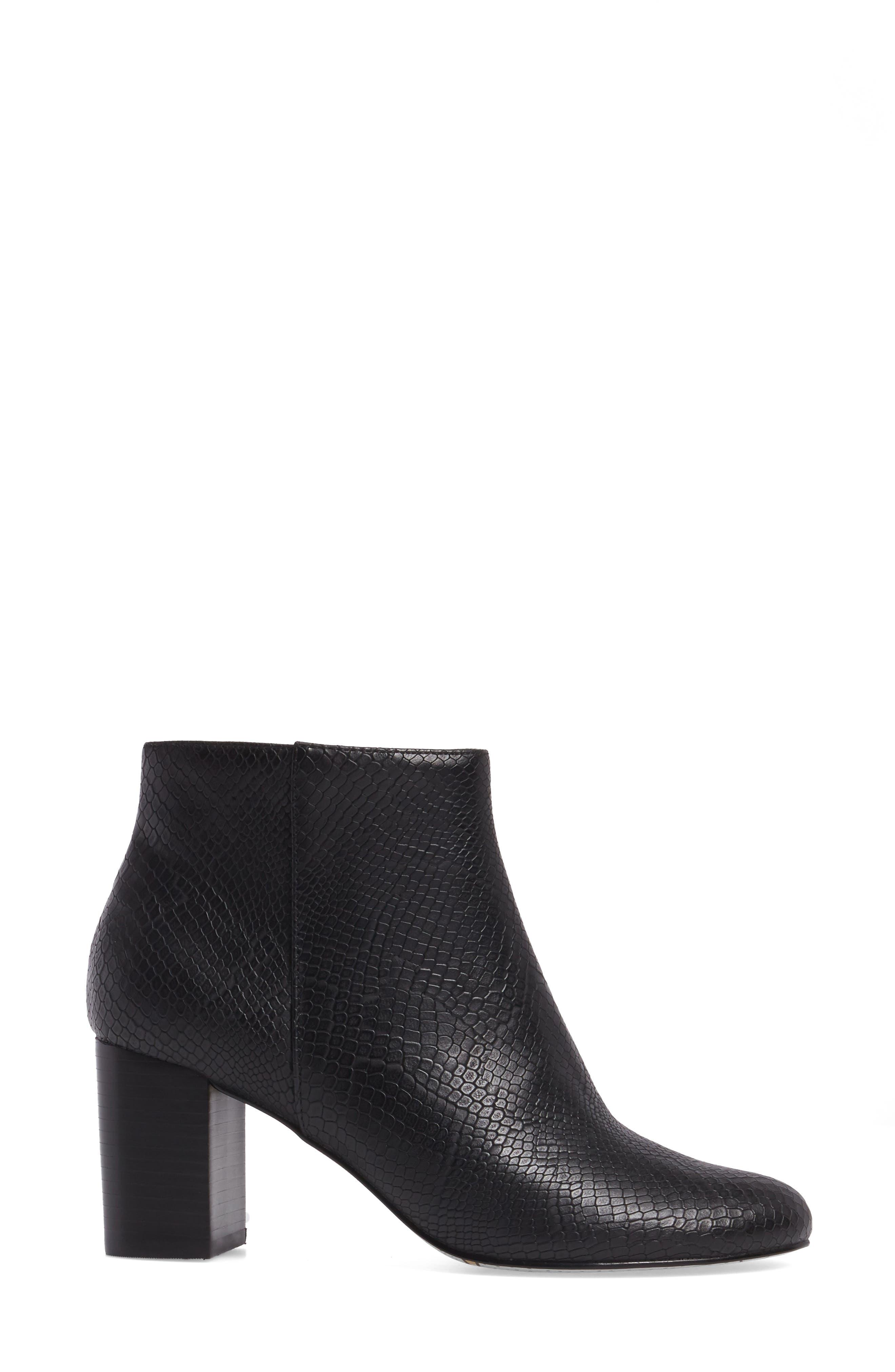 Klaudia II Block Heel Bootie,                             Alternate thumbnail 3, color,                             Black Printed Leather