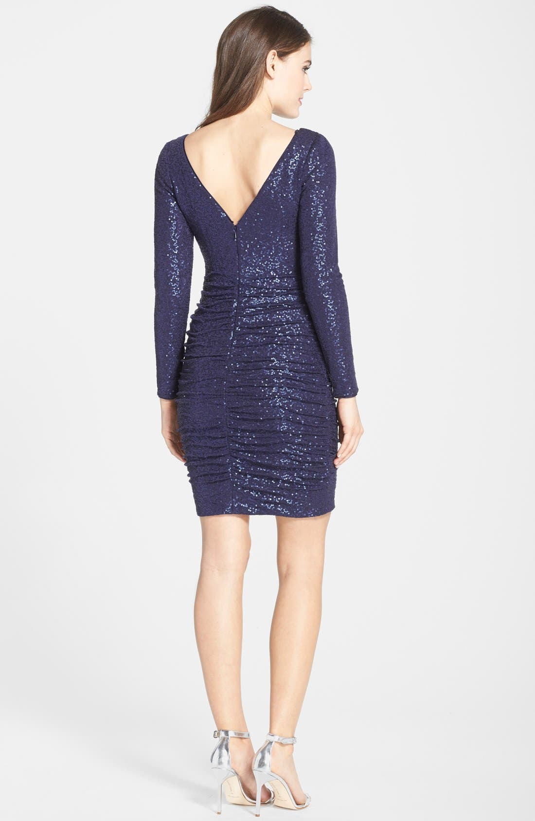 Alternate Image 2  - Aidan by Aidan Mattox Ruched Sequin Knit Dress