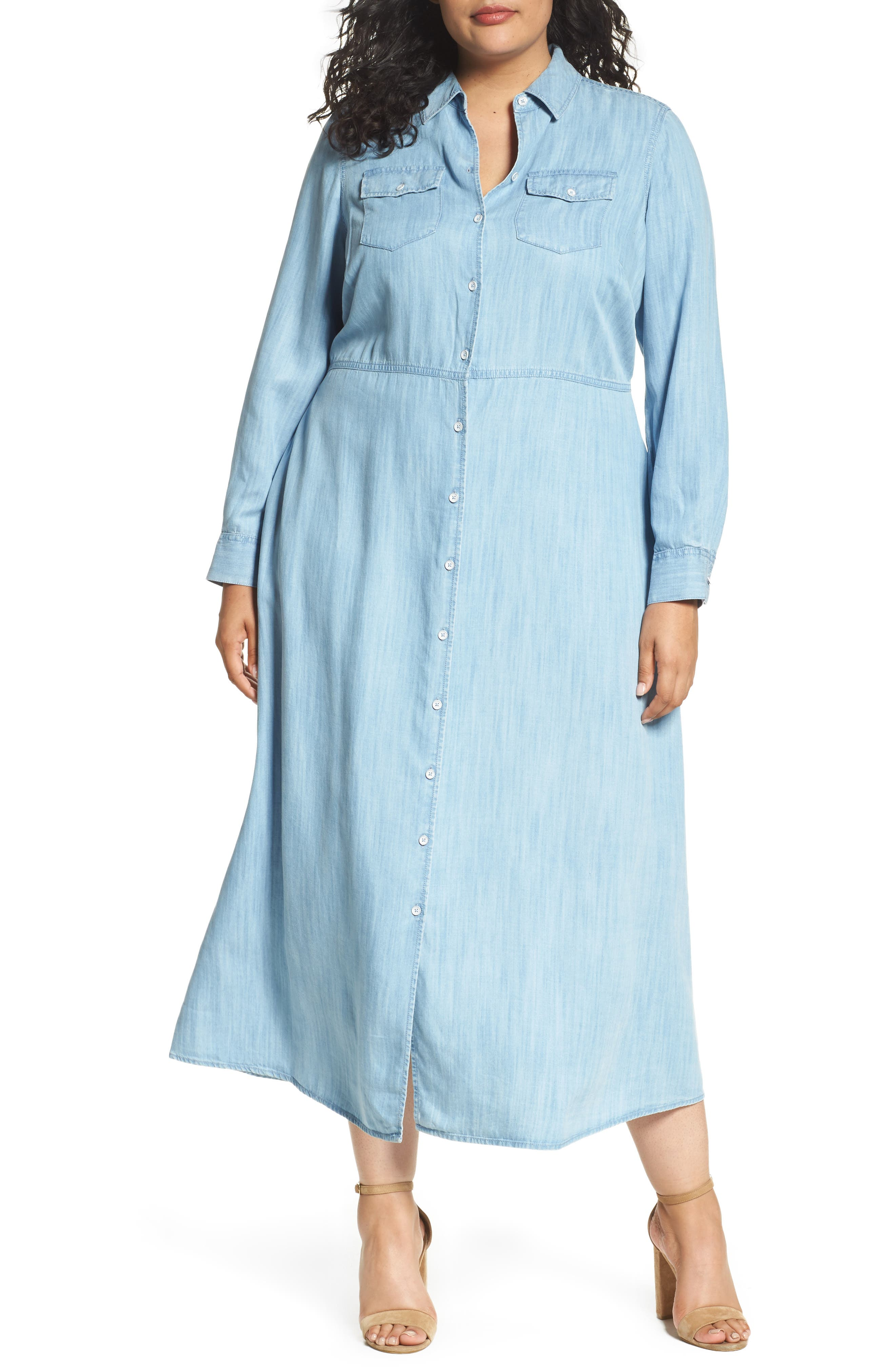 Foxcroft Tencel® Maxi Shirtdress (Plus Size)