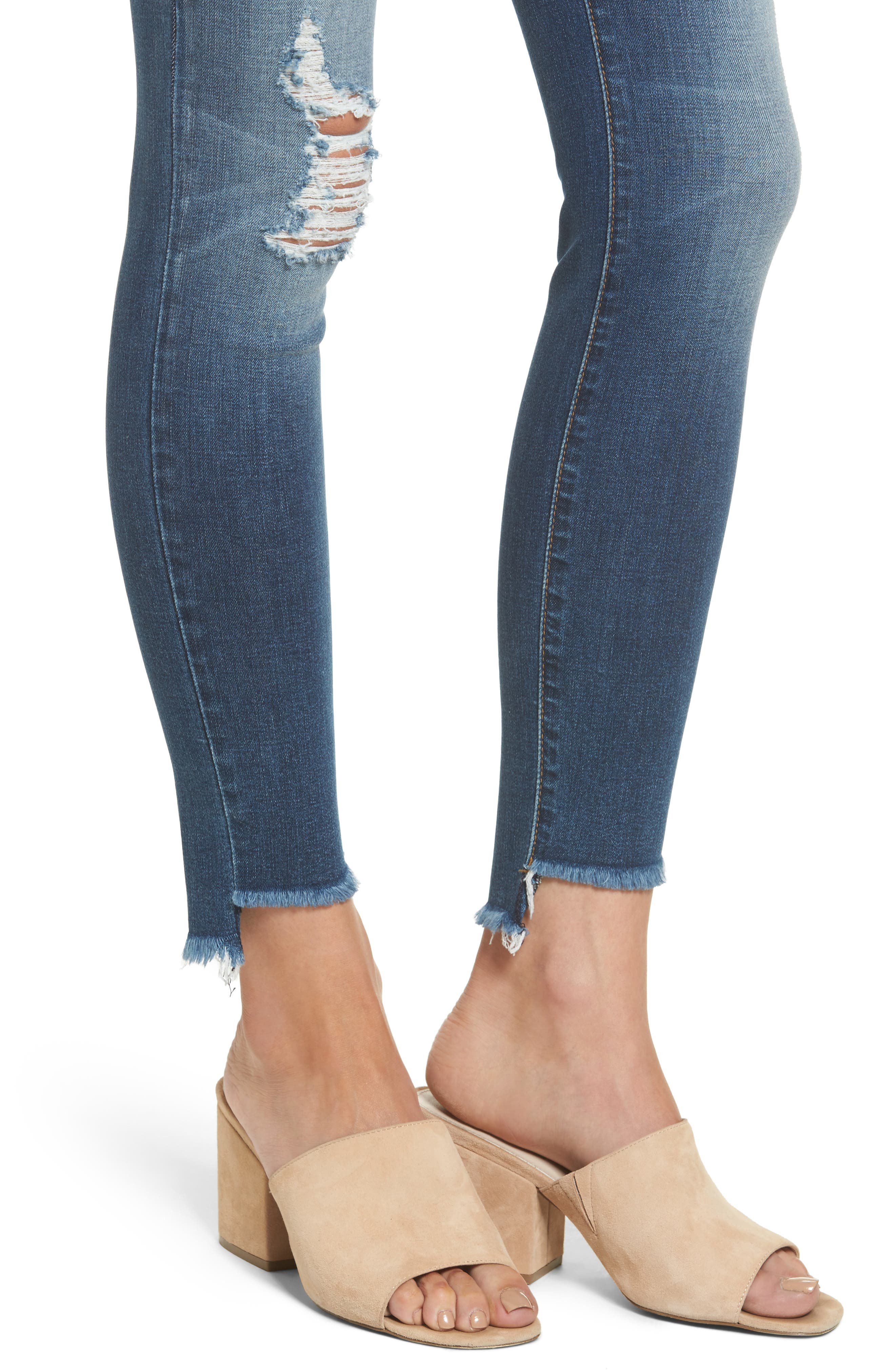 Alternate Image 4  - STS Blue Ellie Step Hem Ripped High Waist Skinny Jeans