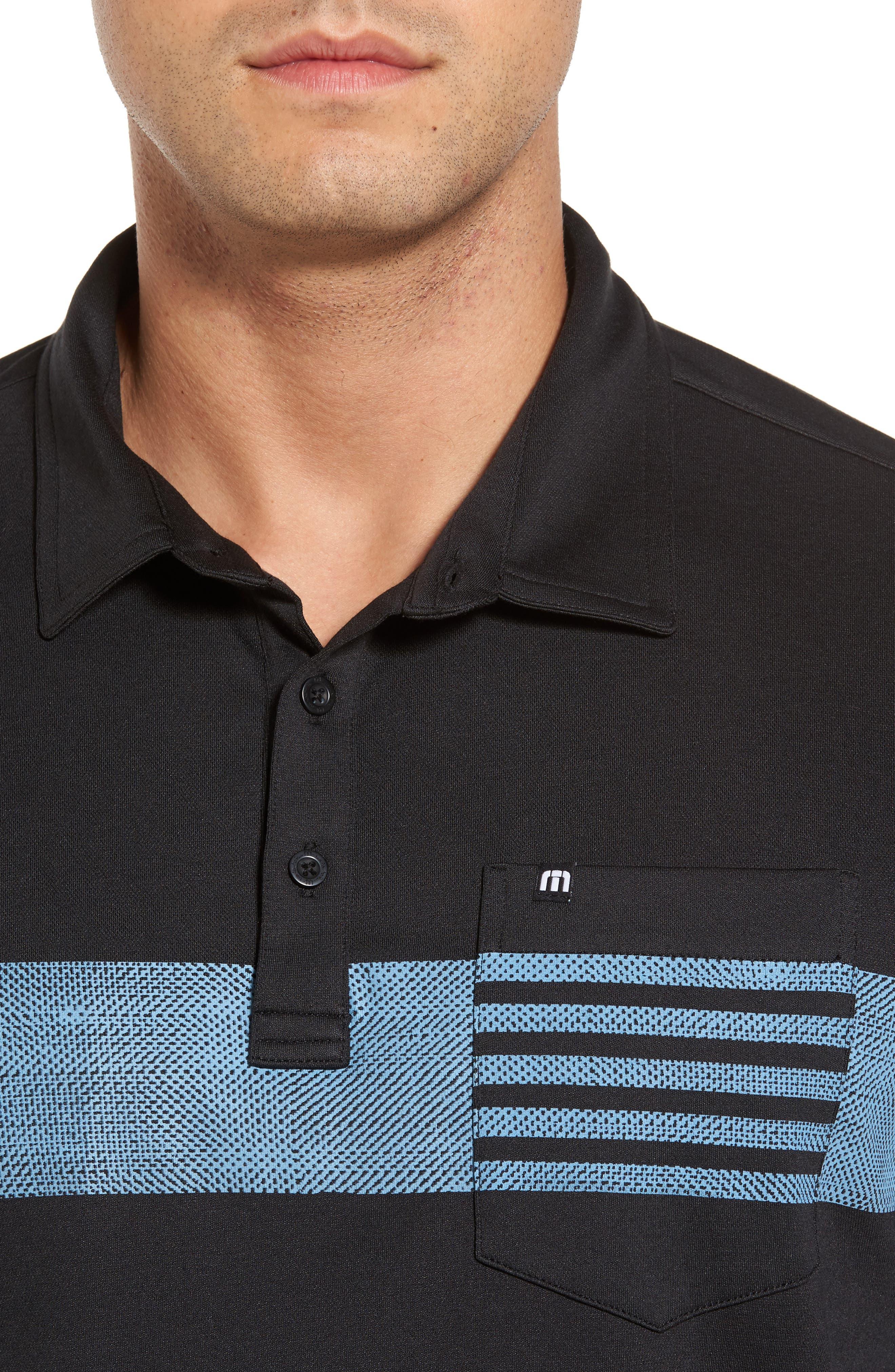 Russ Chest Stripe Pocket Polo,                             Alternate thumbnail 4, color,                             Black