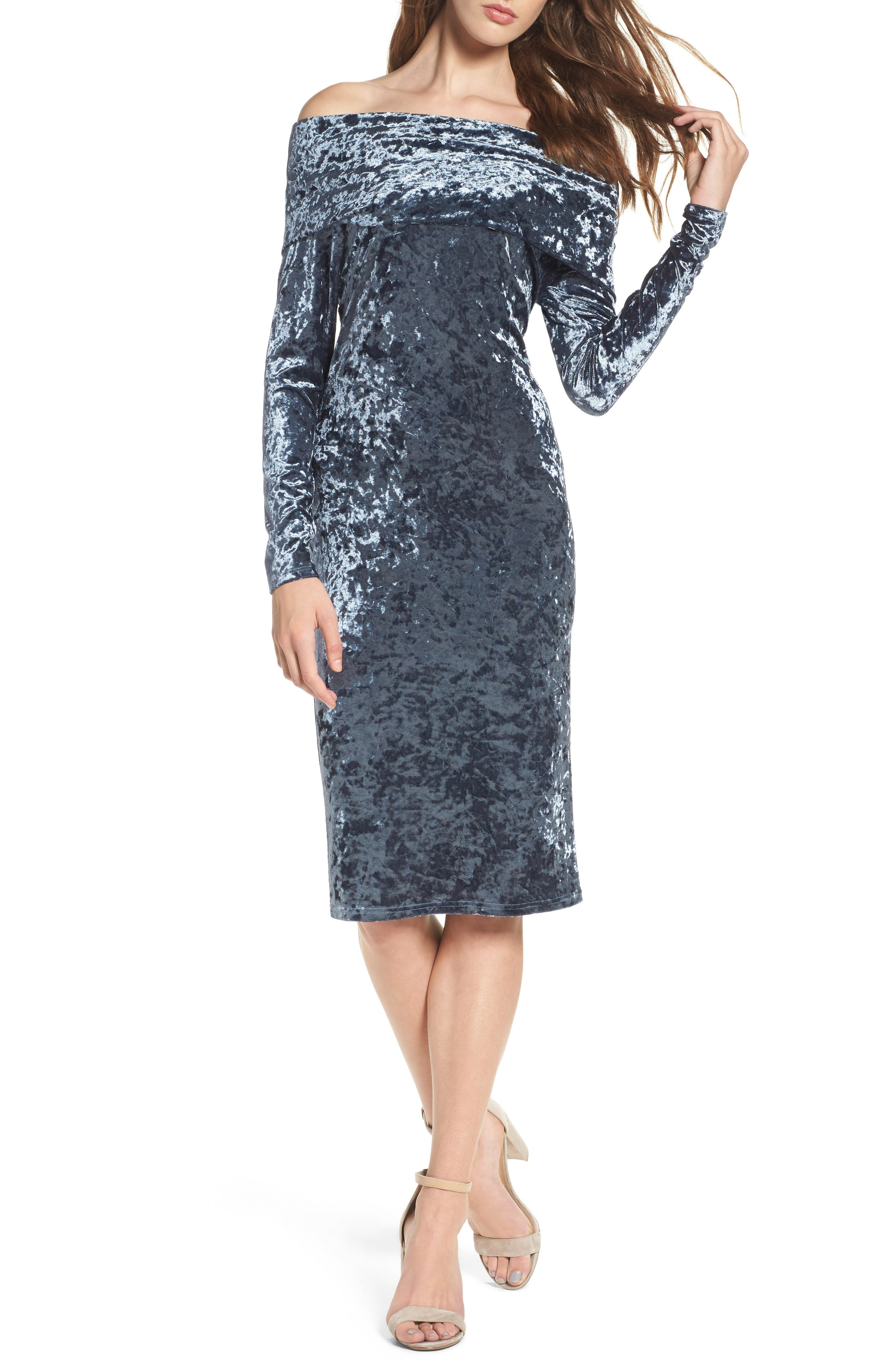 NSR Off the Shoulder Crushed Velvet Dress
