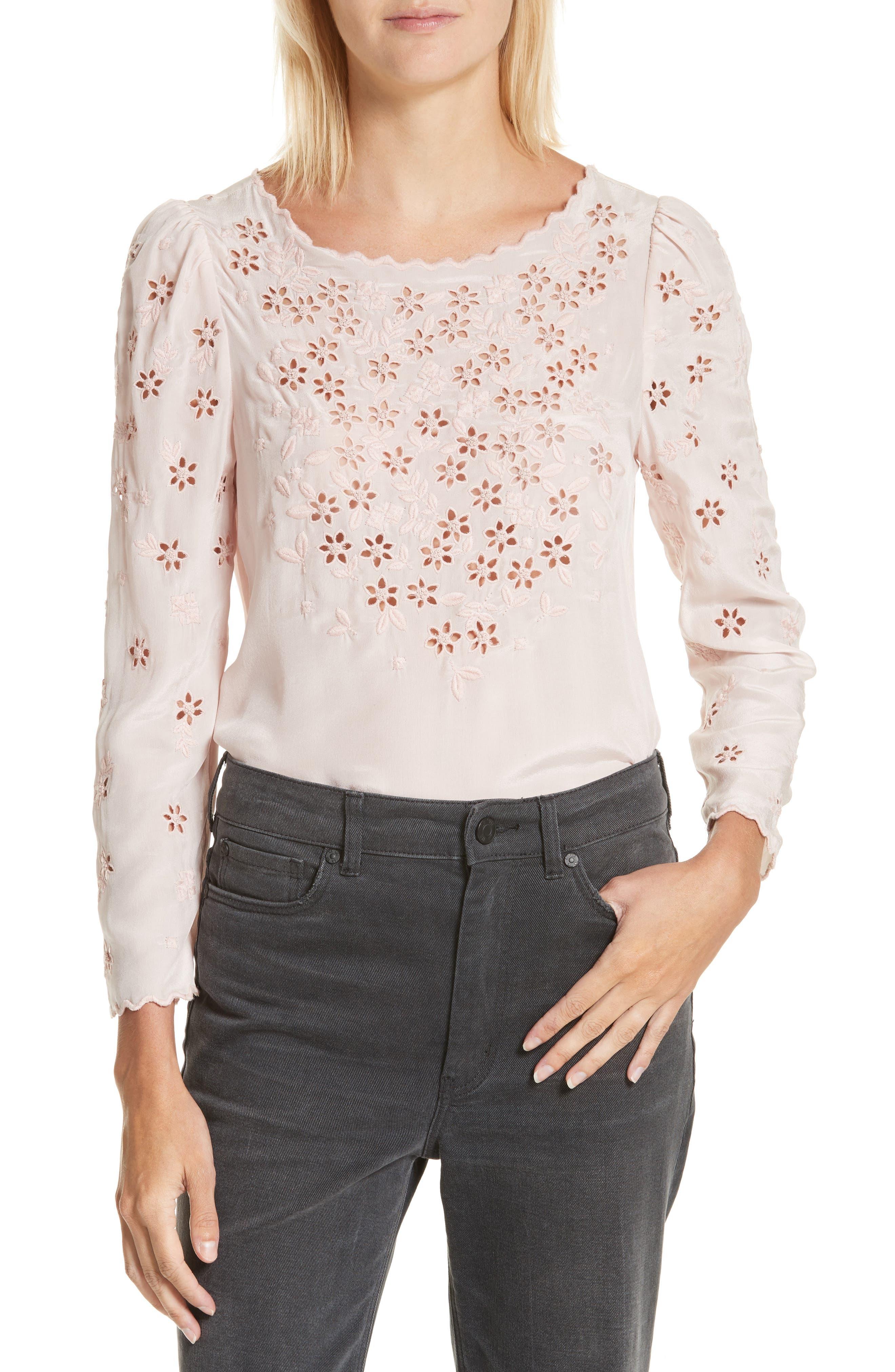 Miranda Embroidered Silk Top,                         Main,                         color, Pink Fairies