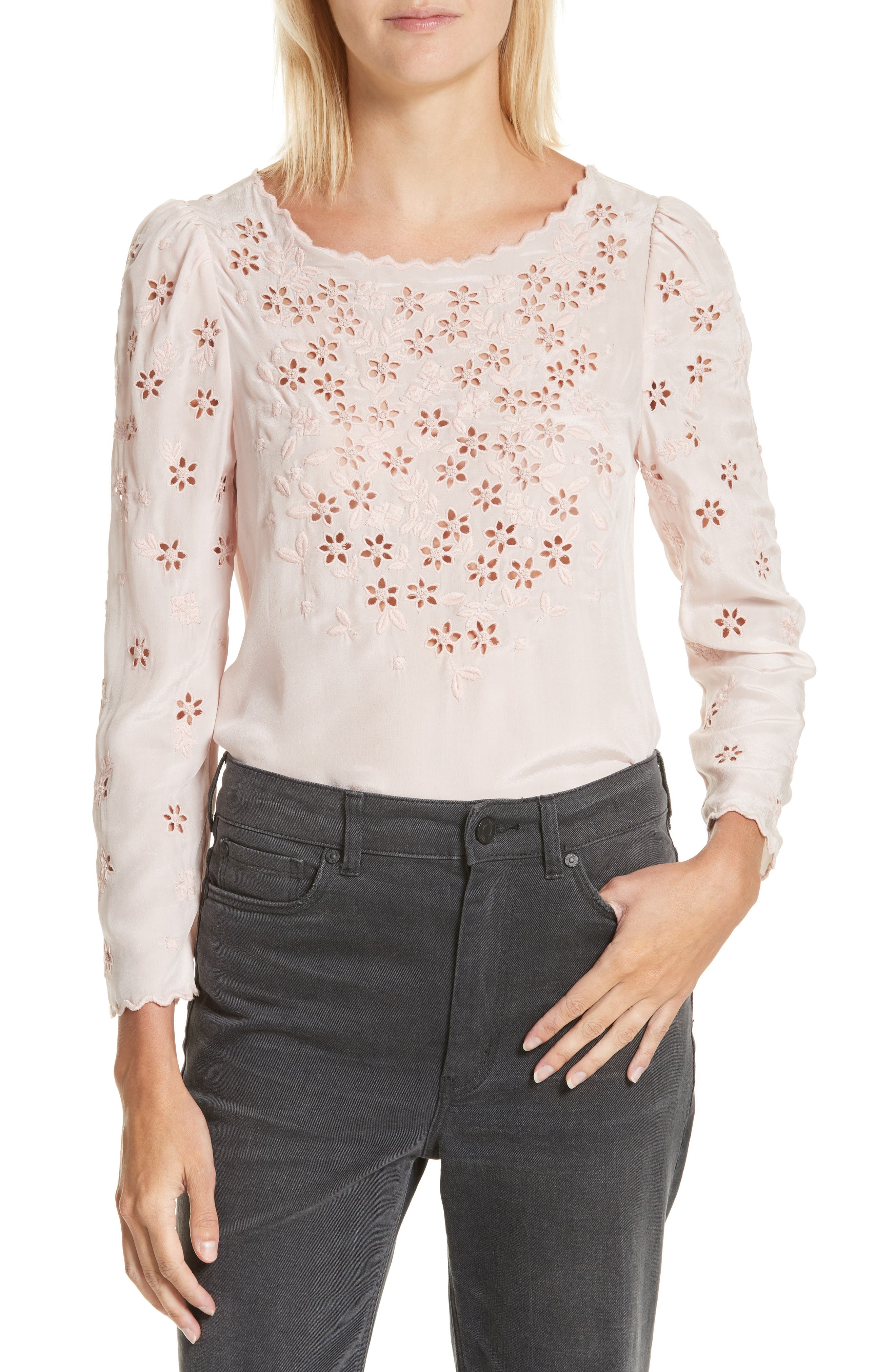 Miranda Embroidered Silk Top,                         Main,                         color, Pink Fairies