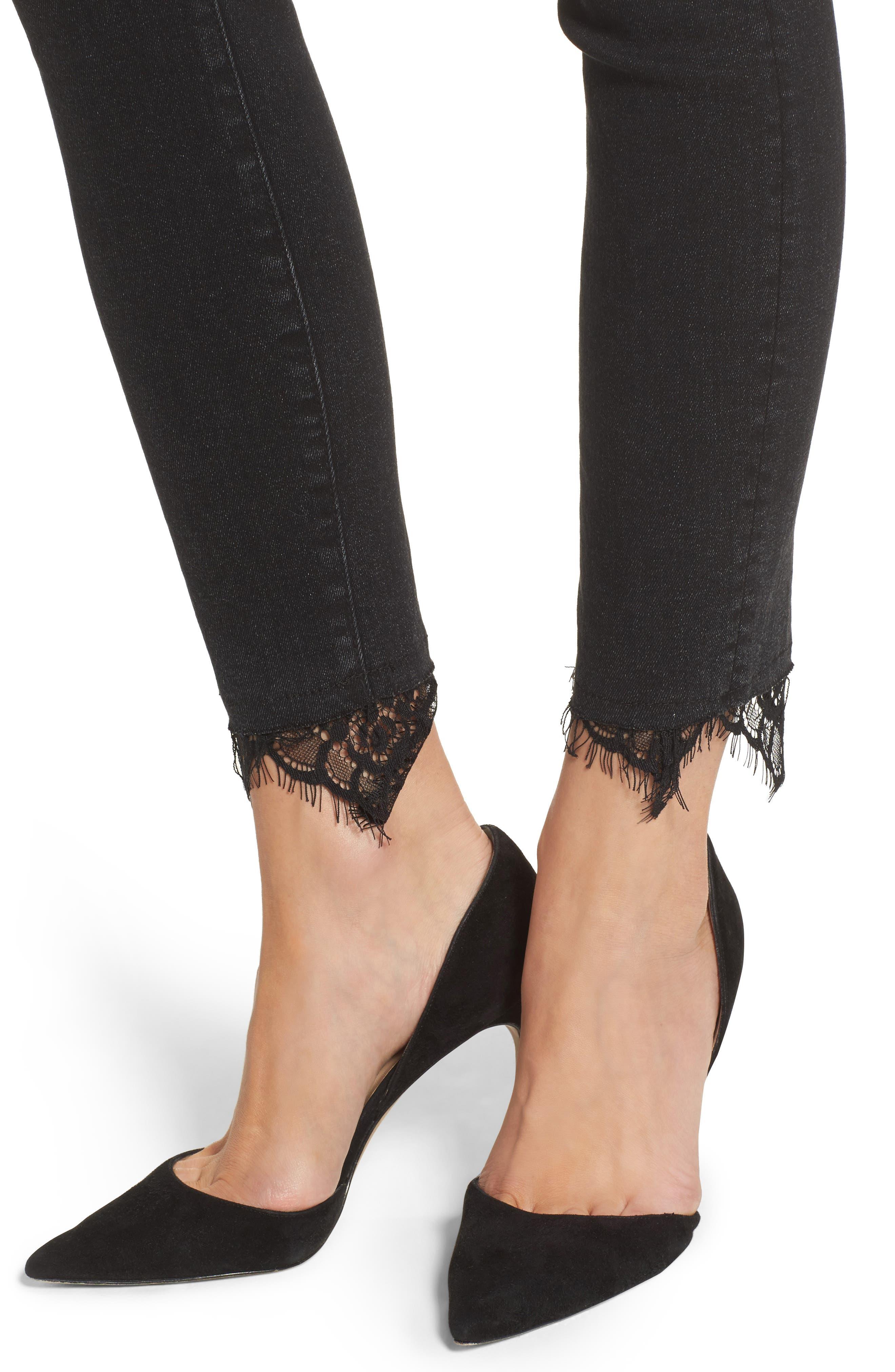 Swooner Dagger Ankle Skinny Jeans,                             Alternate thumbnail 4, color,                             Baa Baa Black Sheep
