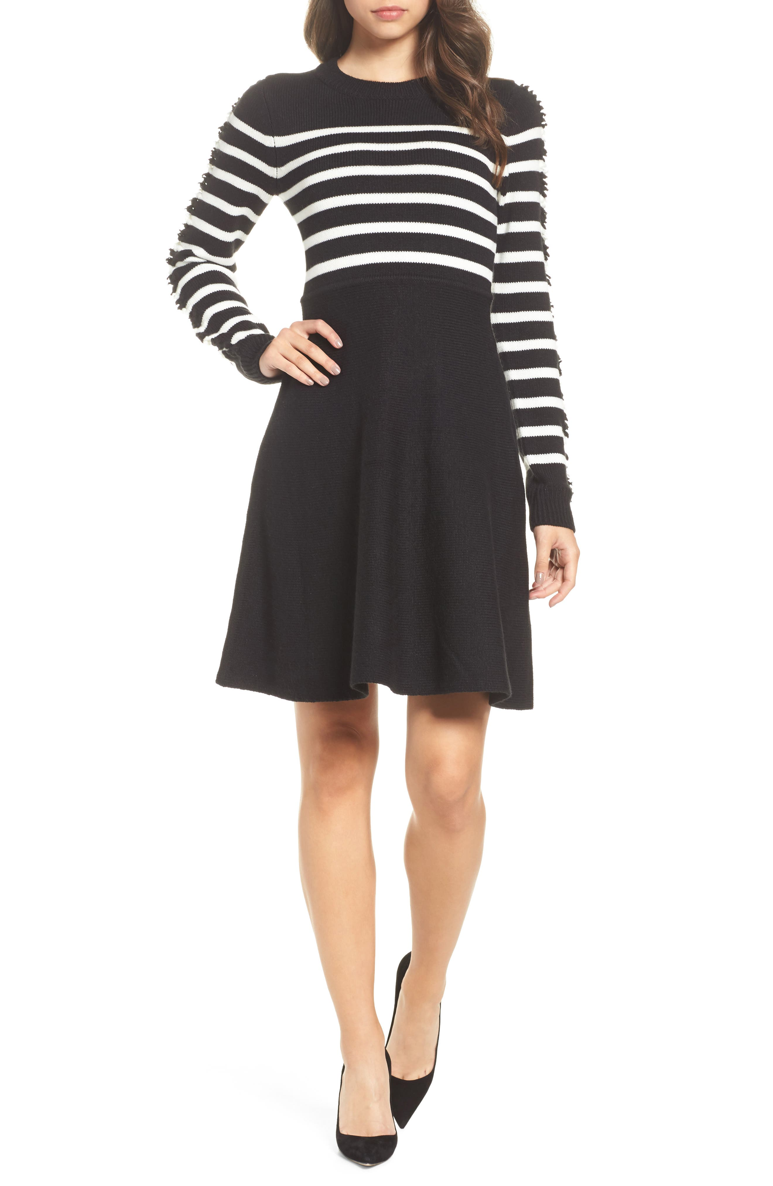 Fit & Flare Sweater Dress,                         Main,                         color, Black/ Ivory