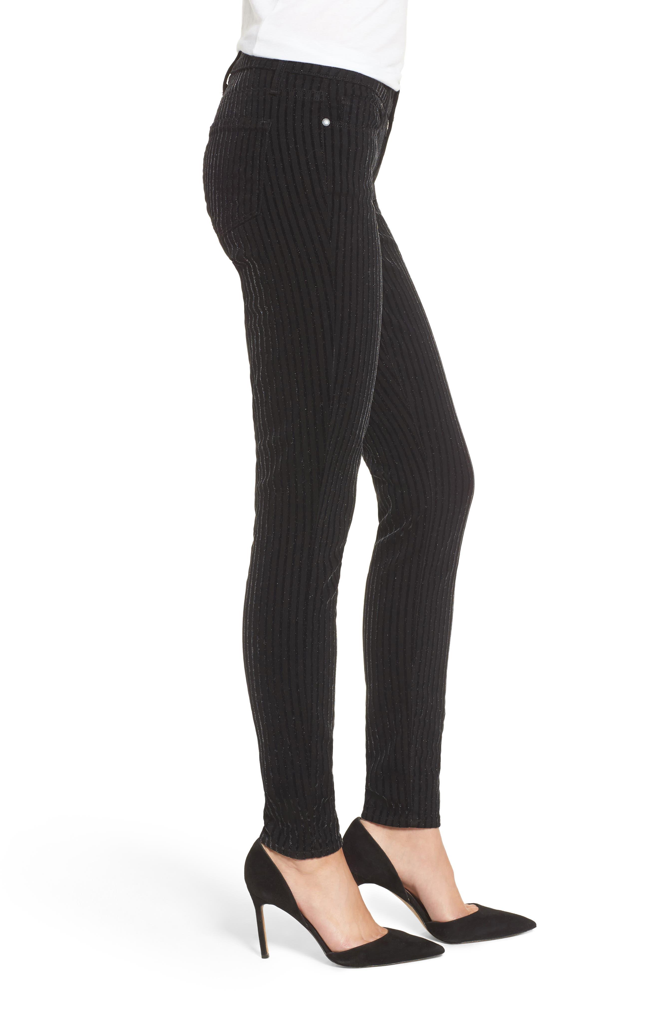 Alternate Image 3  - PAIGE Verdugo Ultra Skinny Jeans (Noir Flocked Stripe)
