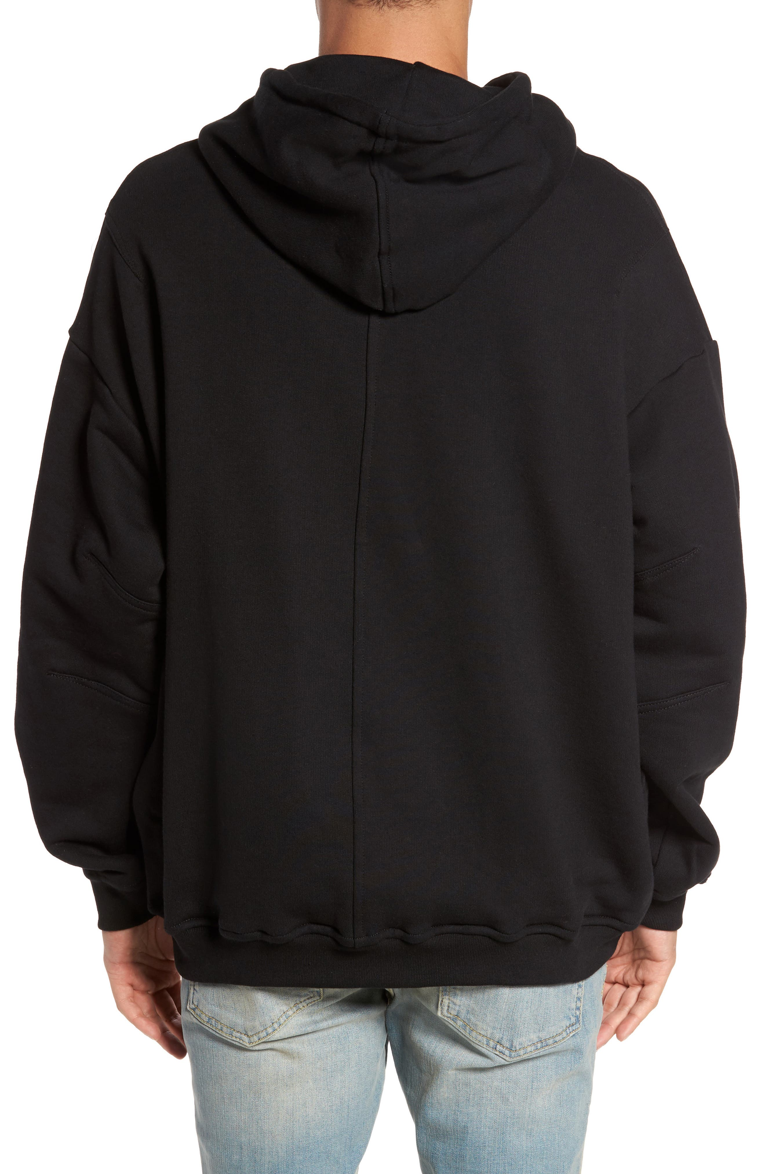 Relaxed Fit Hoodie,                             Alternate thumbnail 2, color,                             Black