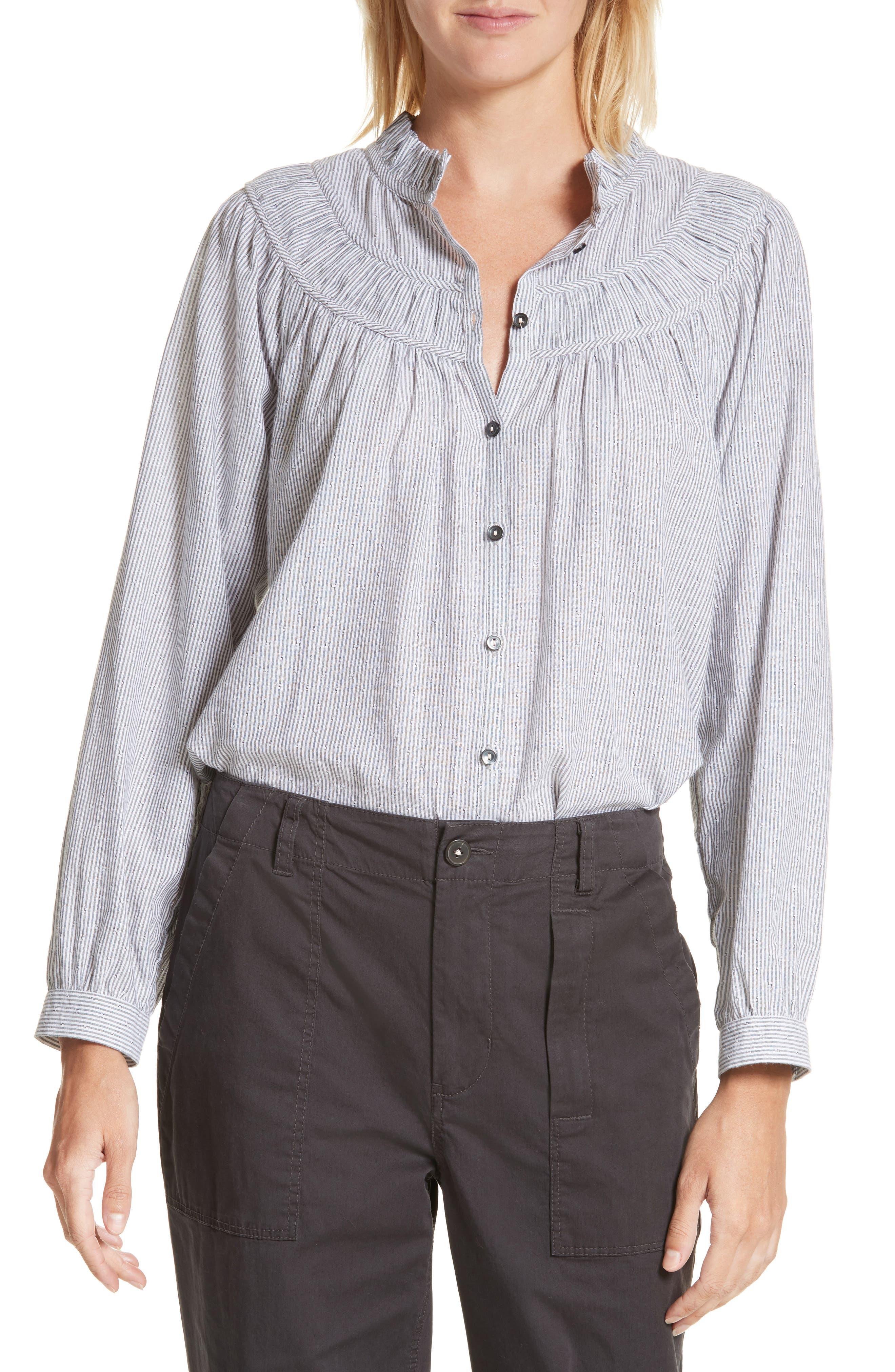 La Vie Rebecca Taylor Stripe Long Sleeve Ruffle Shirt