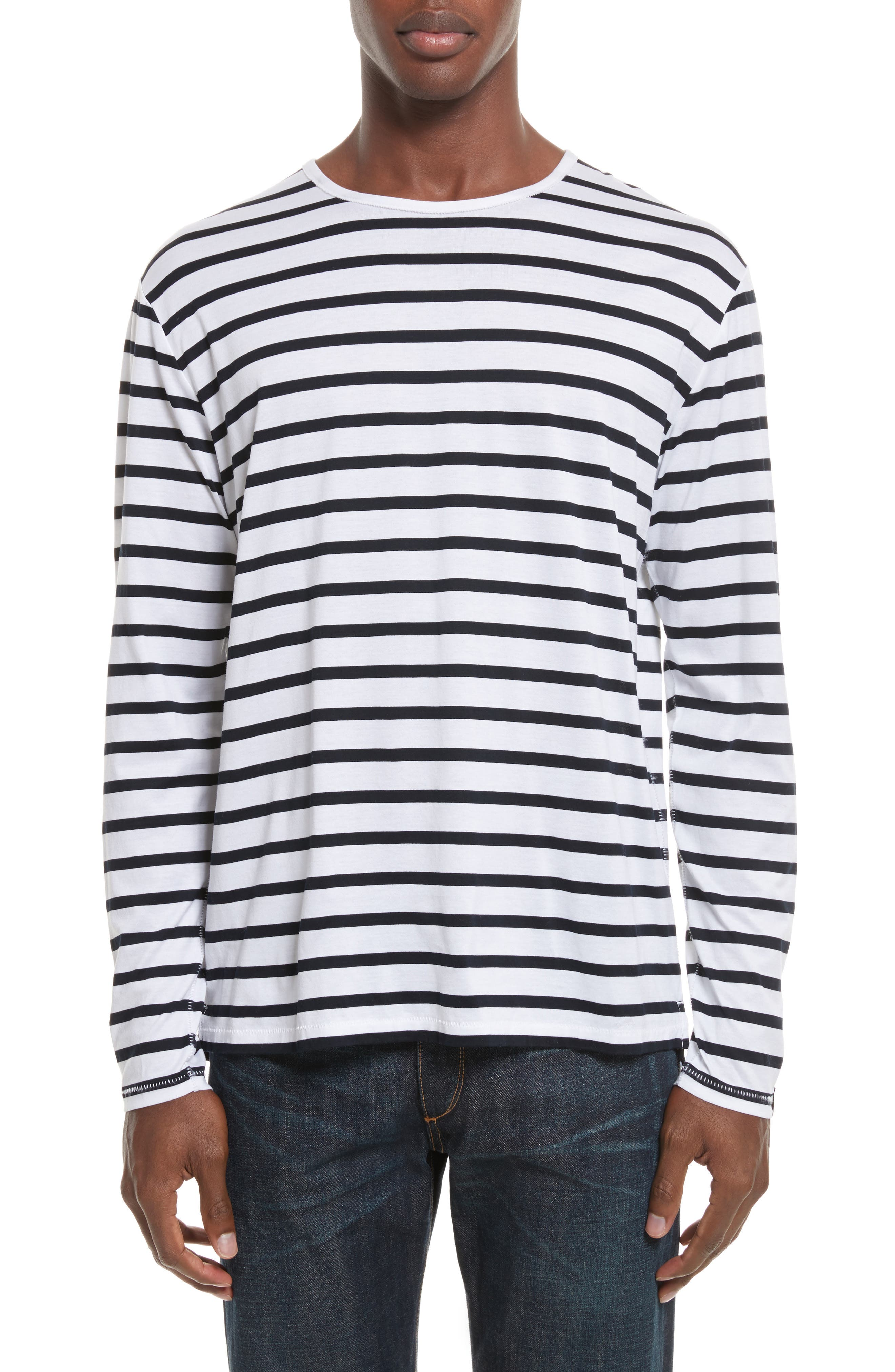 Henry Stripe Long Sleeve T-Shirt,                         Main,                         color, White/ Navy