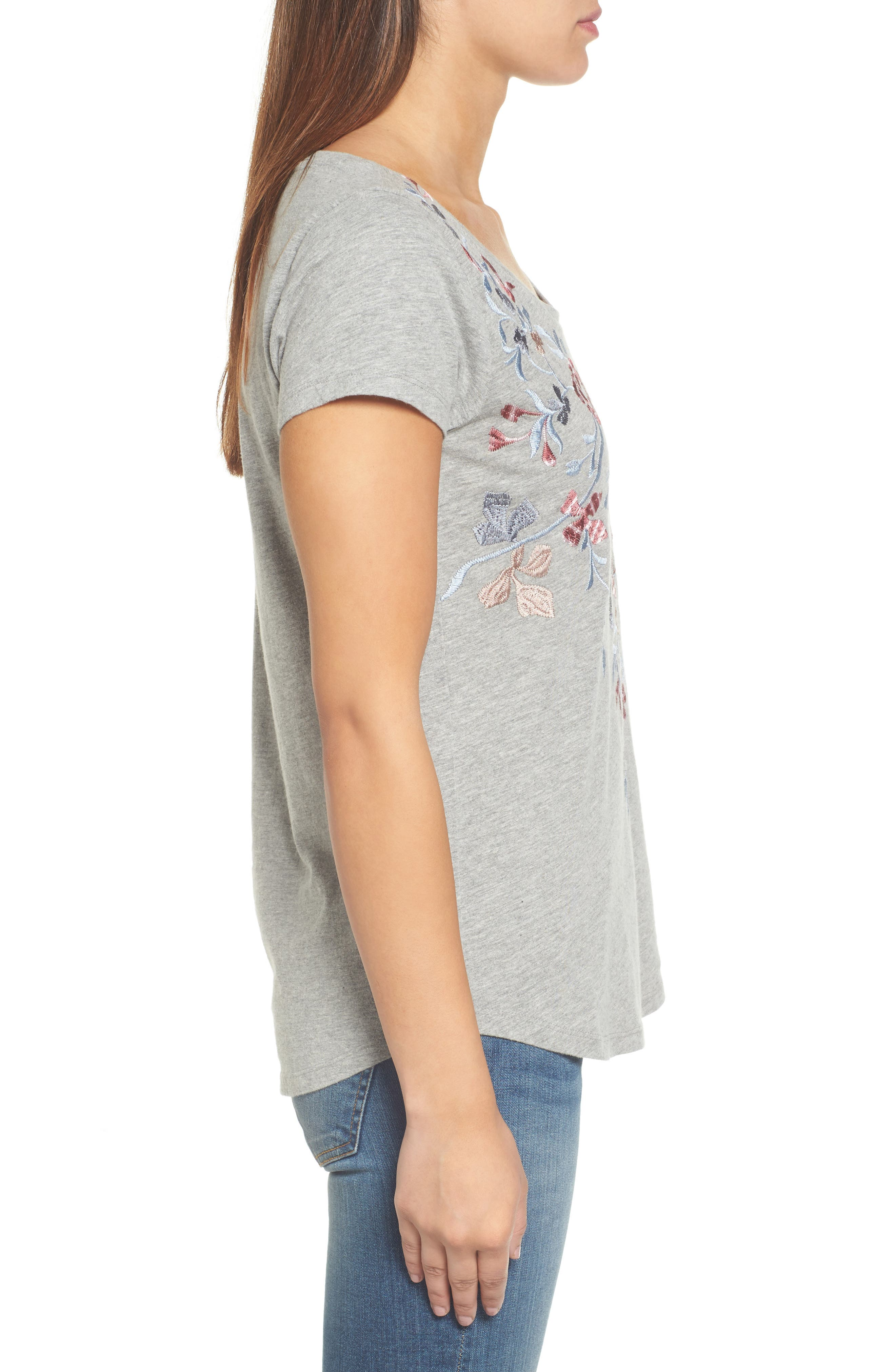 Floral Embroidered Tee,                             Alternate thumbnail 3, color,                             Heather Grey