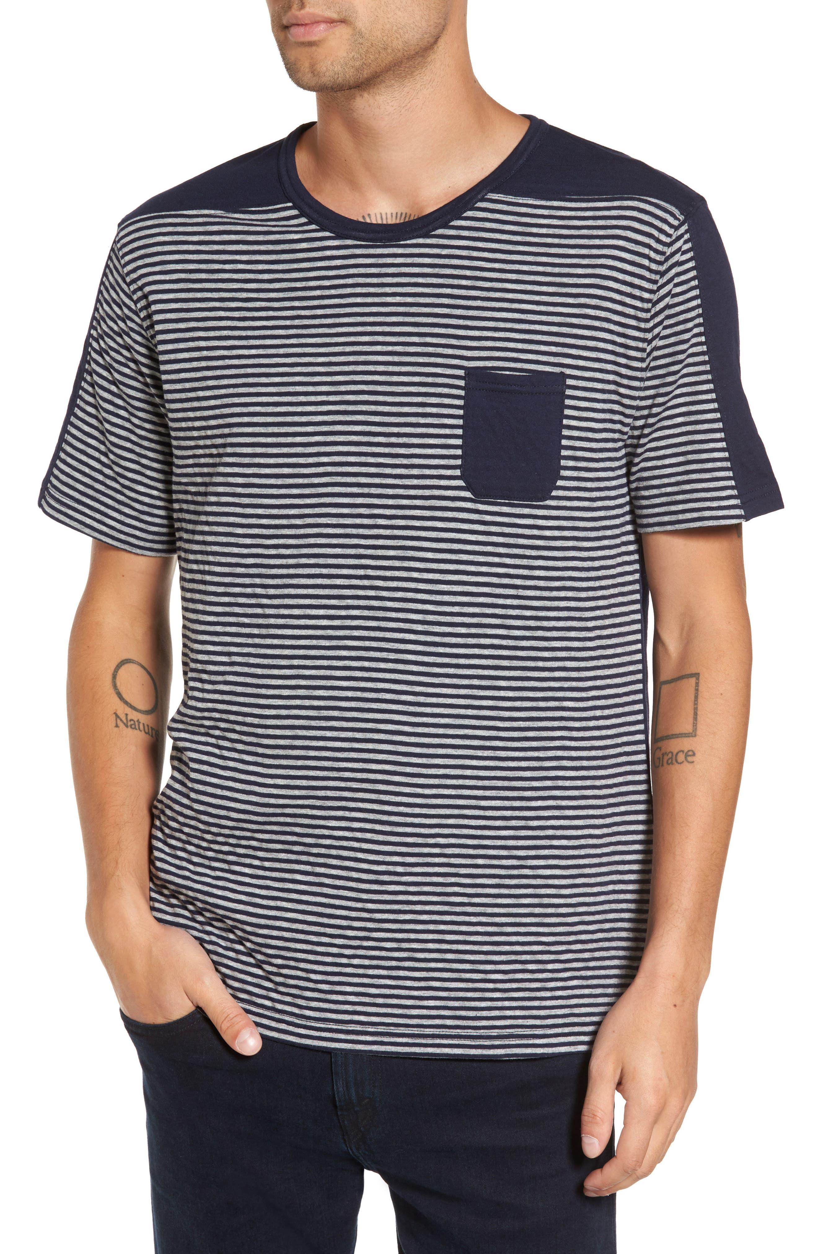Striped Pocket T-Shirt,                         Main,                         color, Navy/ White Stripe