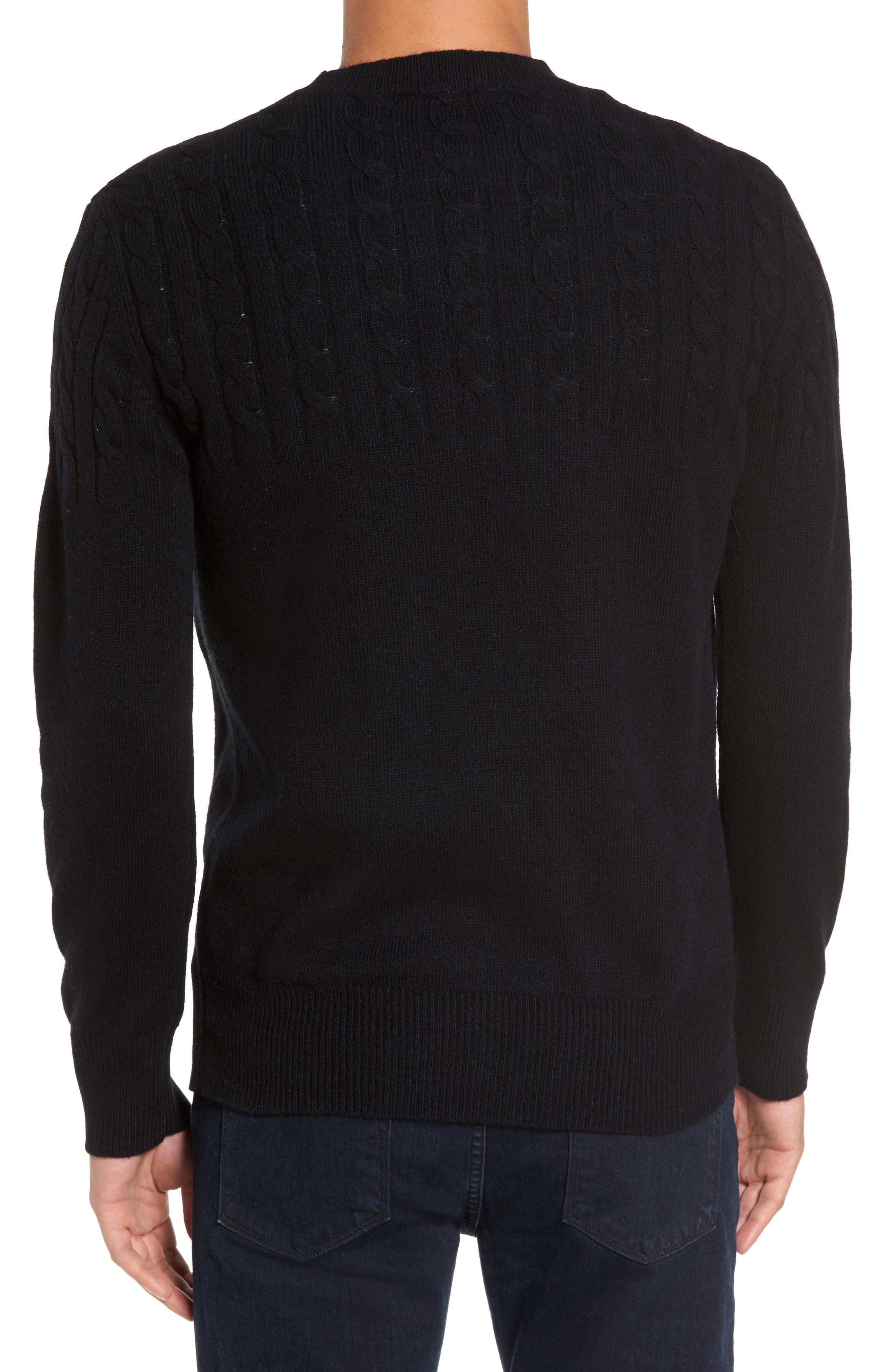 Wool Cable Knit Sweater,                             Alternate thumbnail 2, color,                             Black