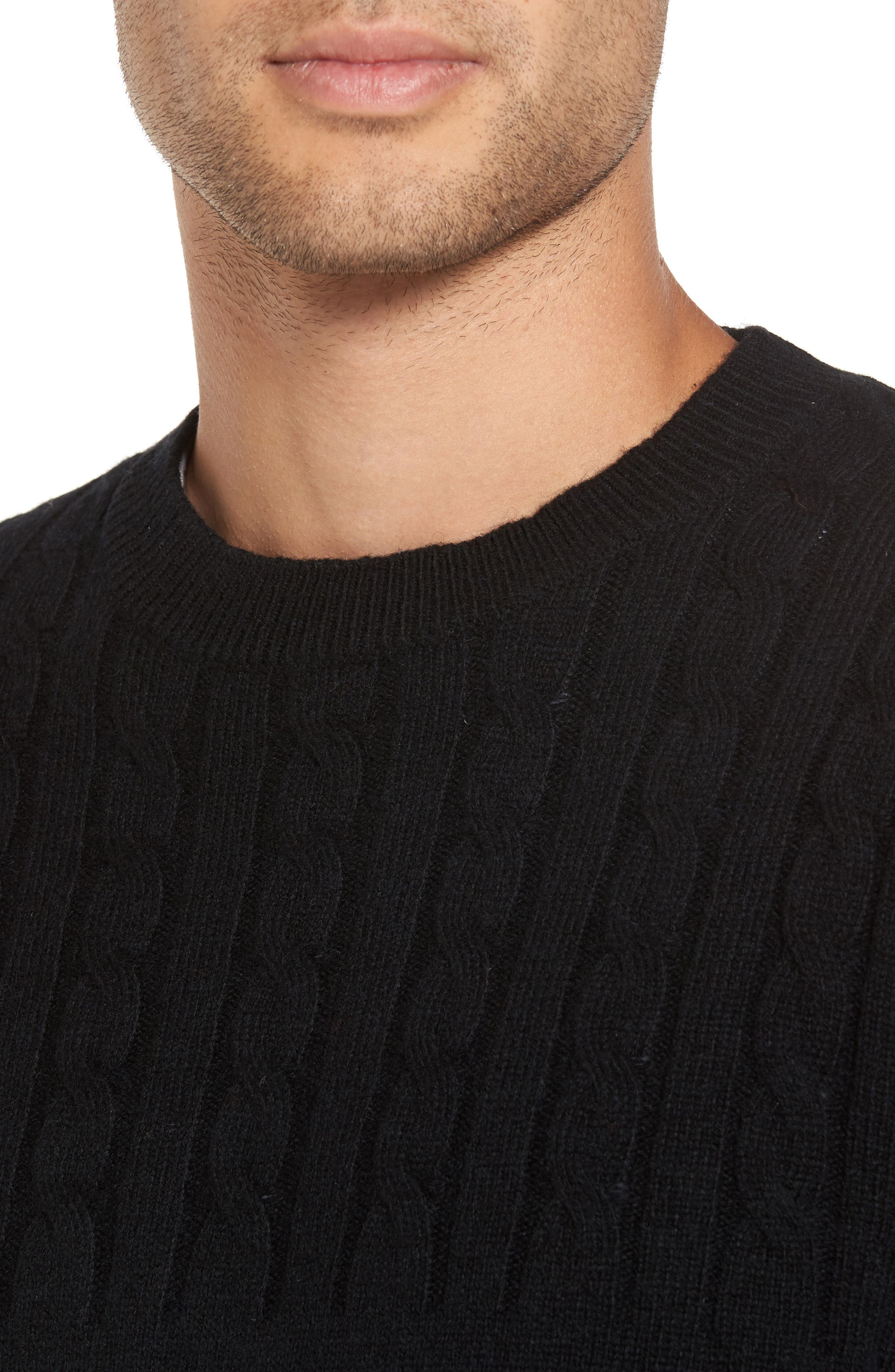 Wool Cable Knit Sweater,                             Alternate thumbnail 4, color,                             Black
