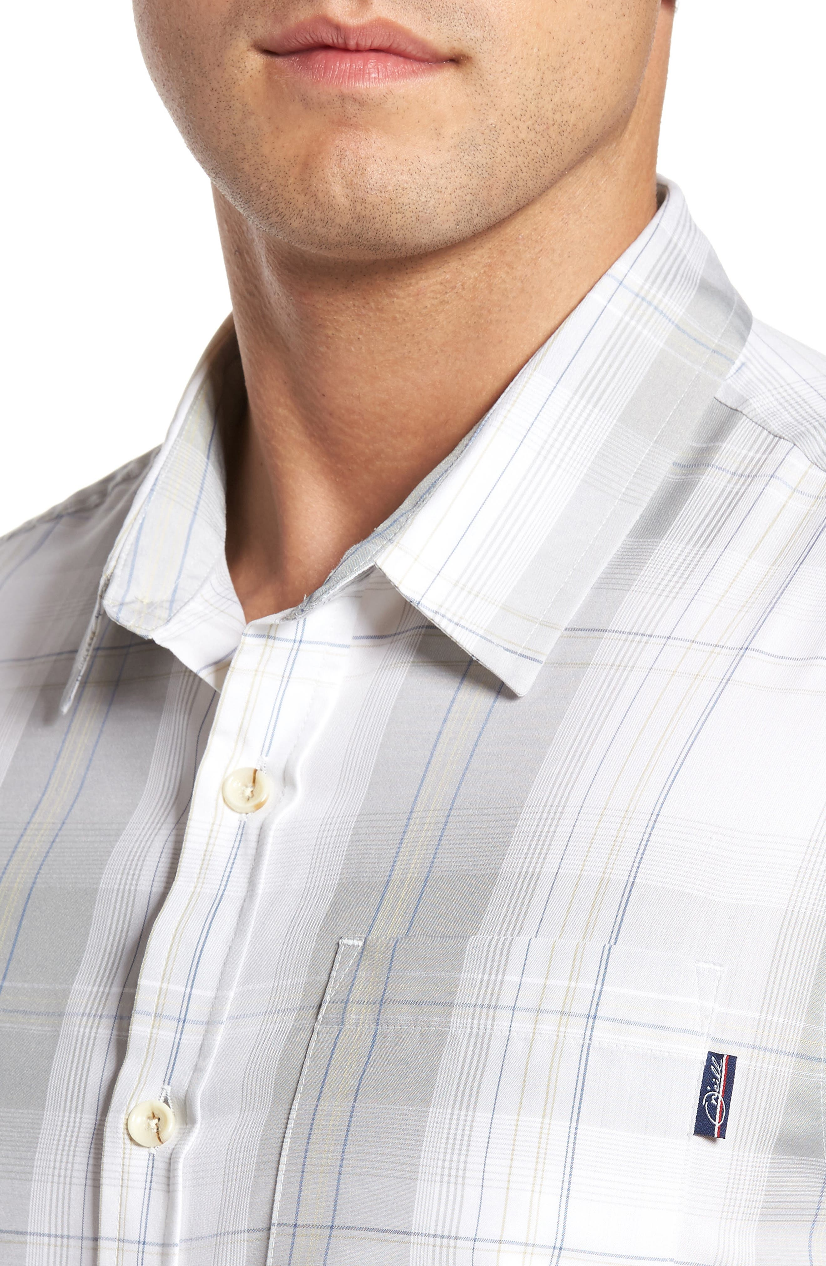 Outerbanks Plaid Sport Shirt,                             Alternate thumbnail 4, color,                             Light Grey