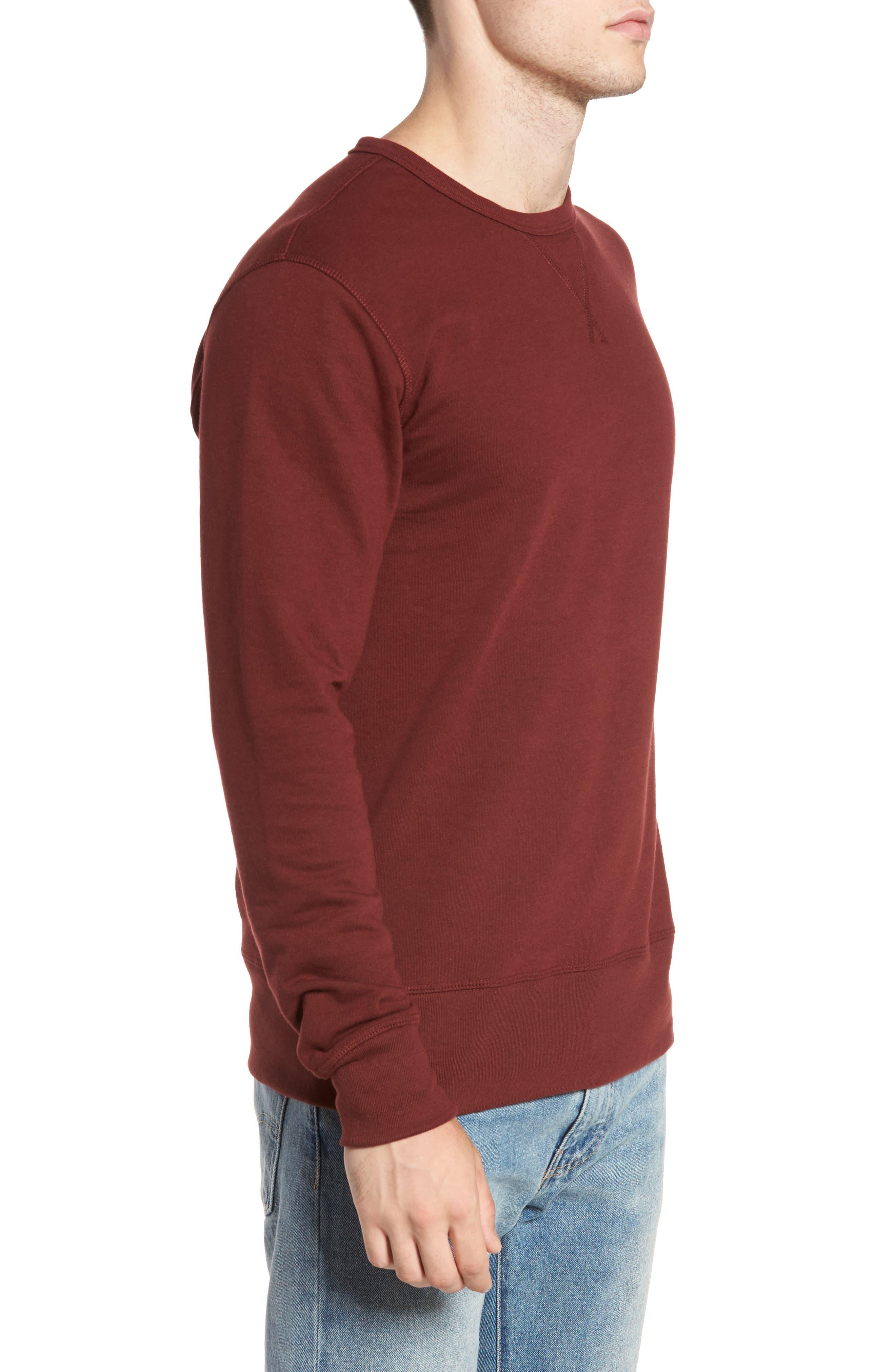 B-Side Reversible Crewneck Sweatshirt,                             Alternate thumbnail 3, color,                             Maroon