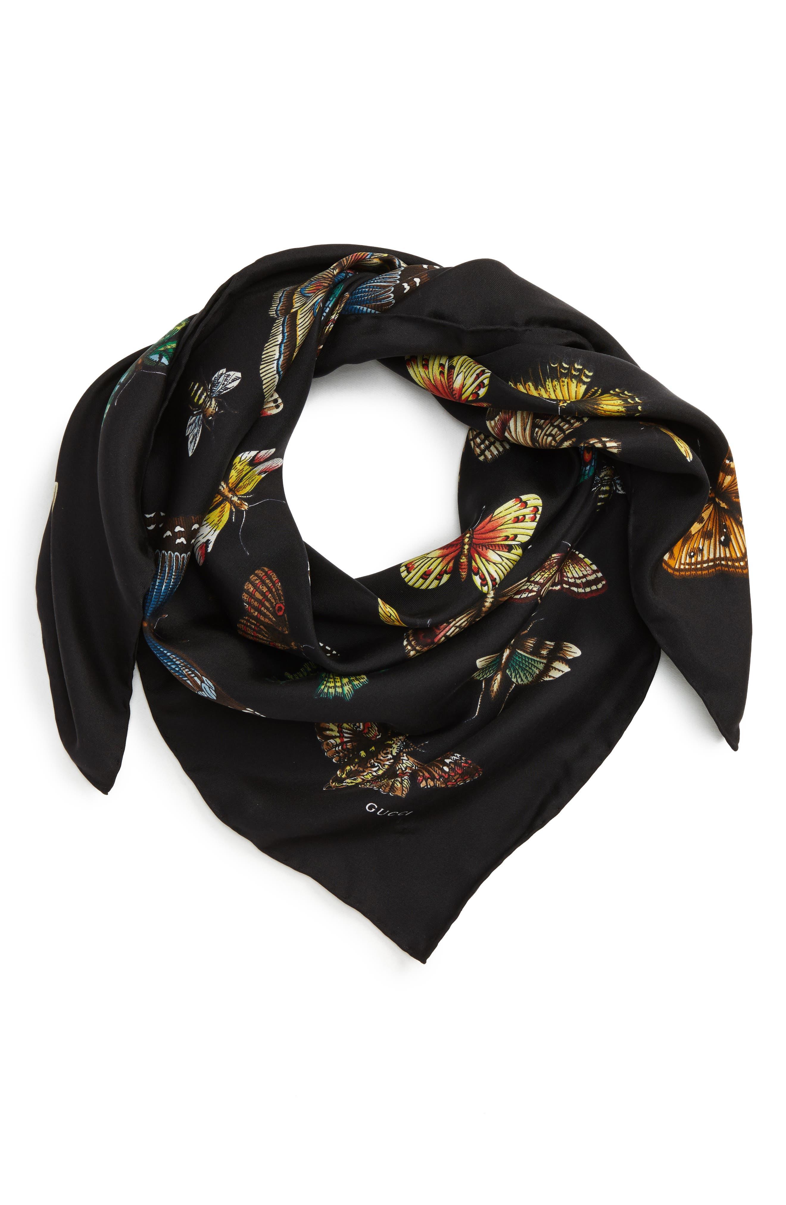 Butterflies Foulard Silk Scarf,                             Alternate thumbnail 2, color,                             Black