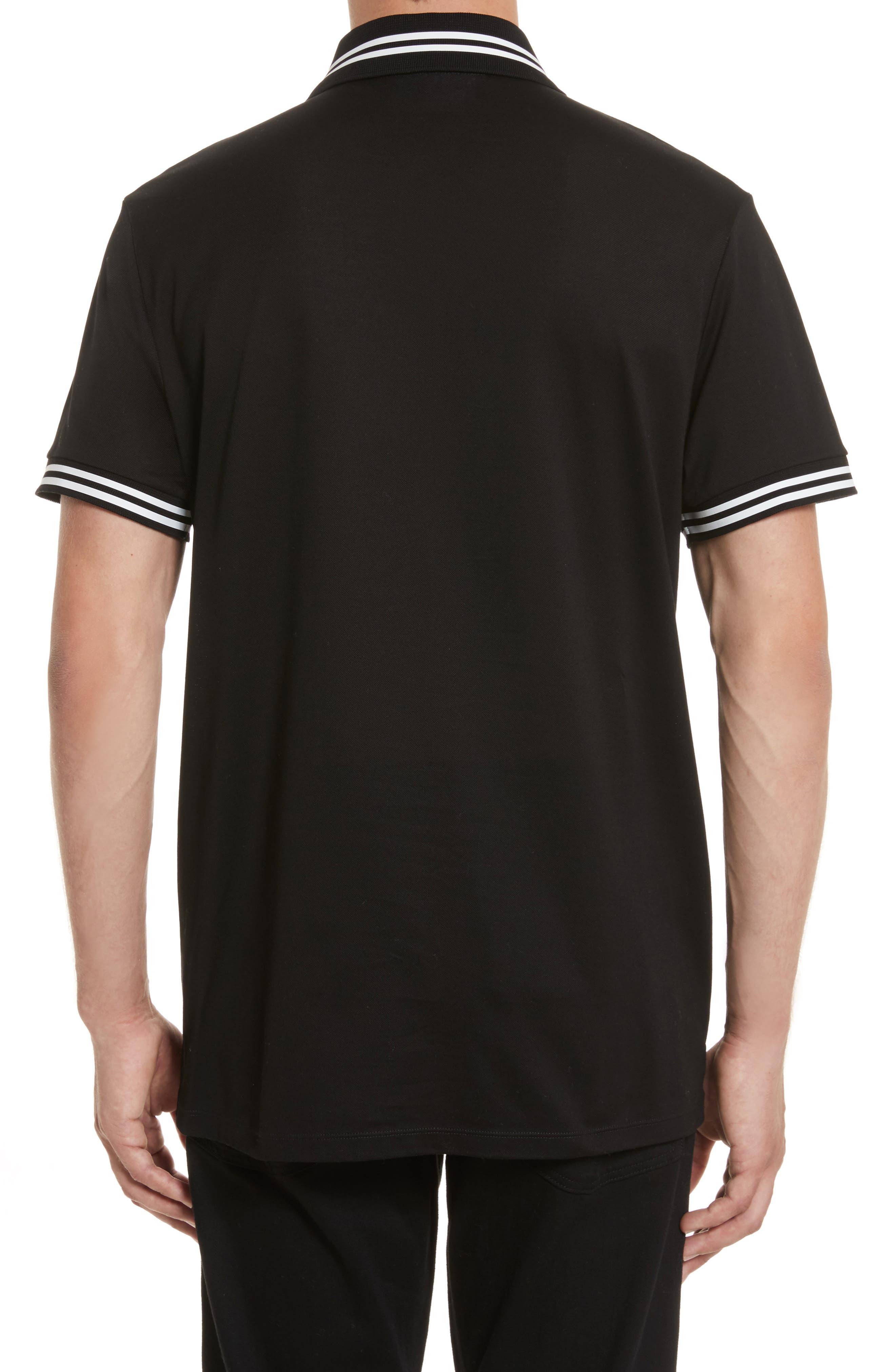 Stripe Tipped Polo,                             Alternate thumbnail 2, color,                             Black/ White