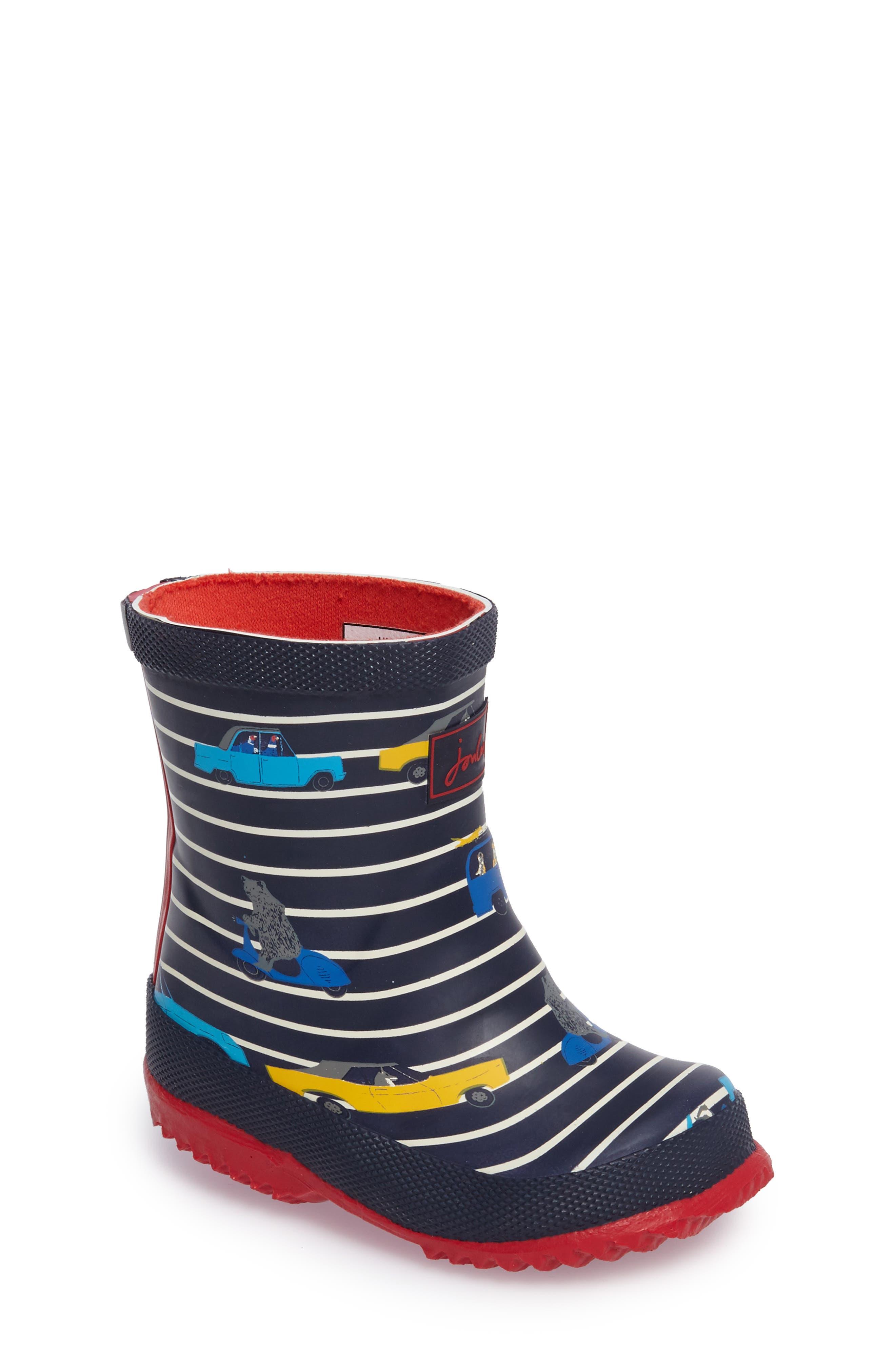 Printed Waterproof Rain Boot,                         Main,                         color, Navy Car