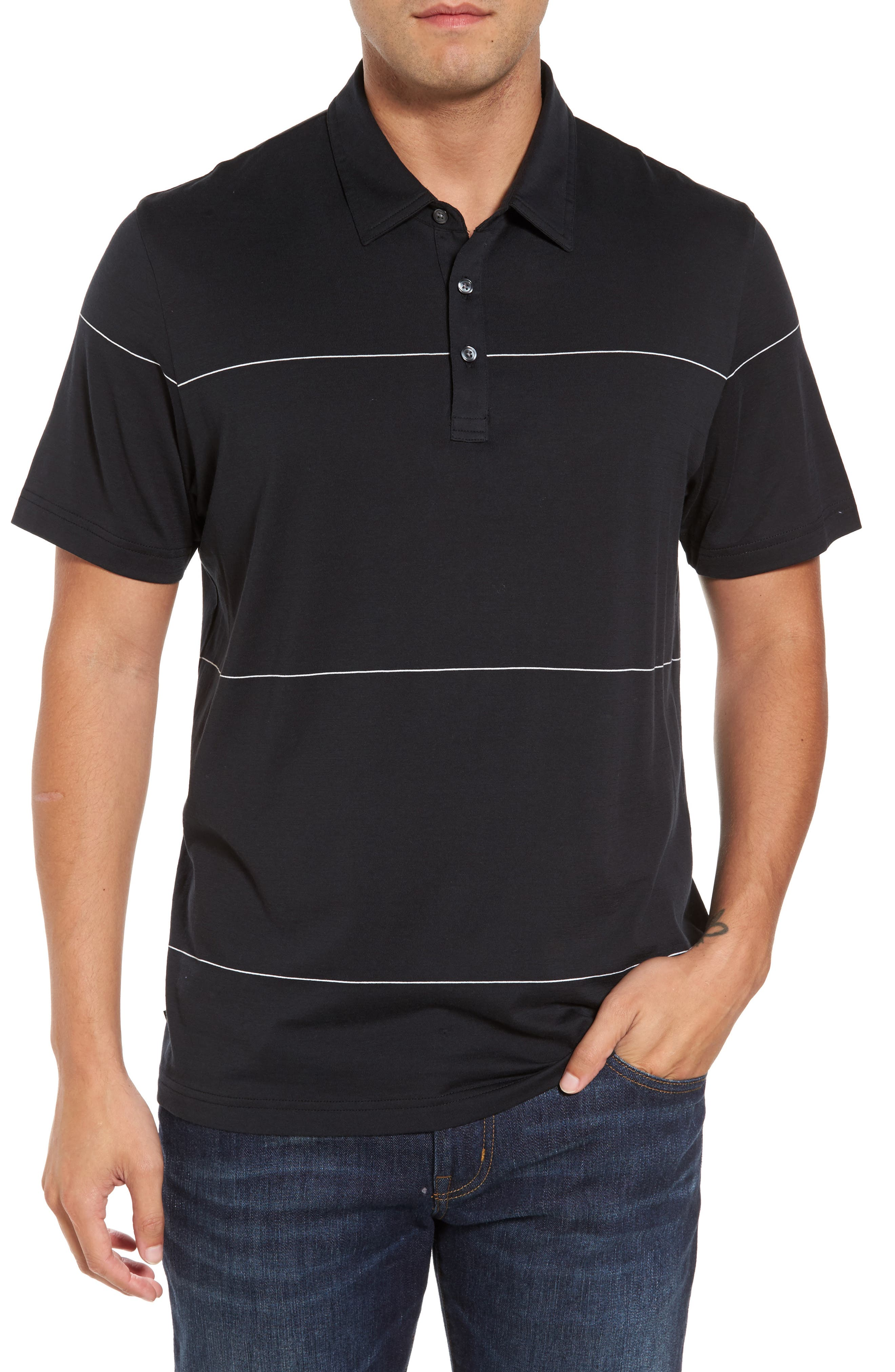 KJ Chalk Stripe Polo,                             Main thumbnail 1, color,                             Black