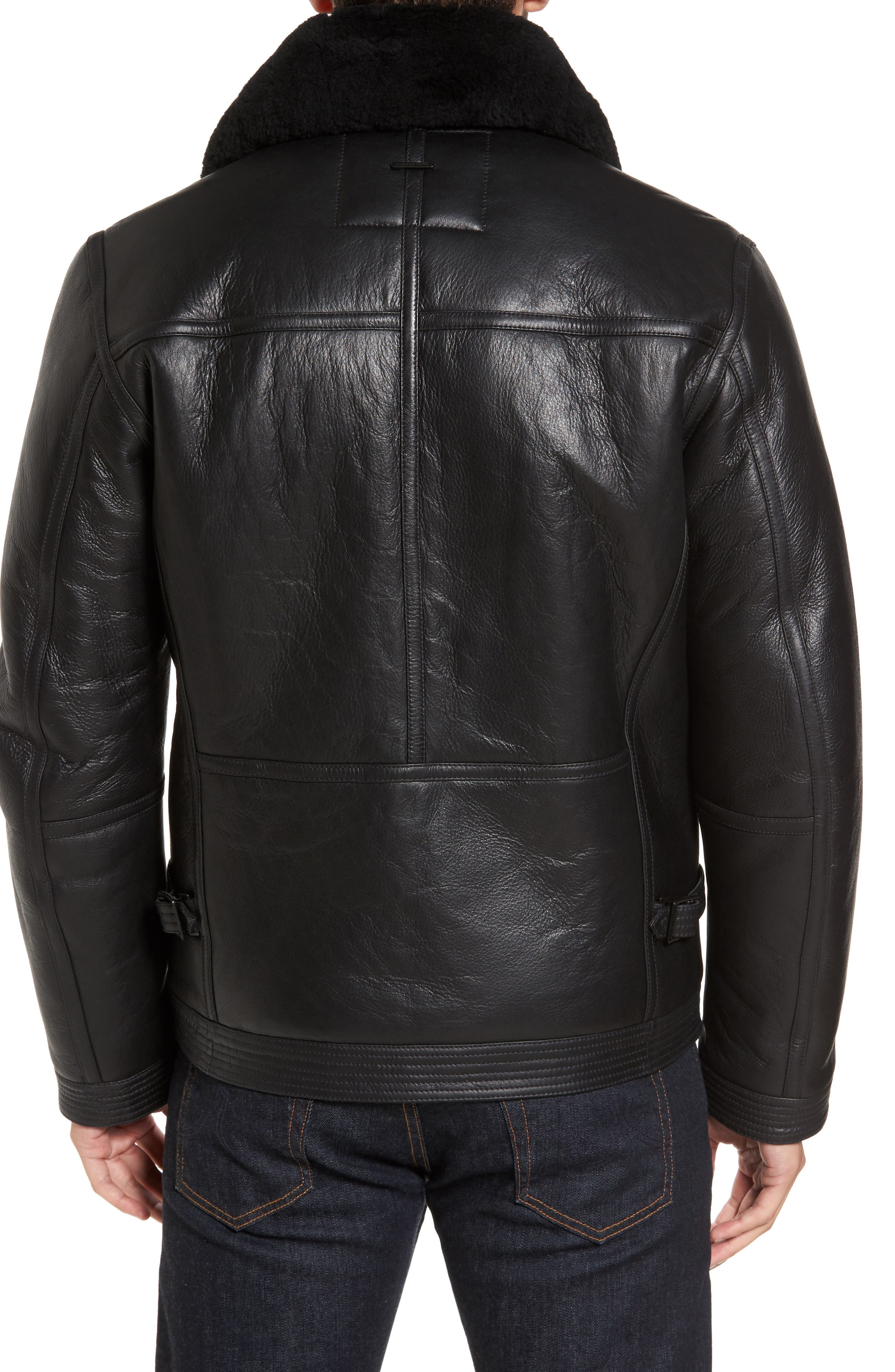 Leather Jacket with Genuine Shearling Collar,                             Alternate thumbnail 2, color,                             Black