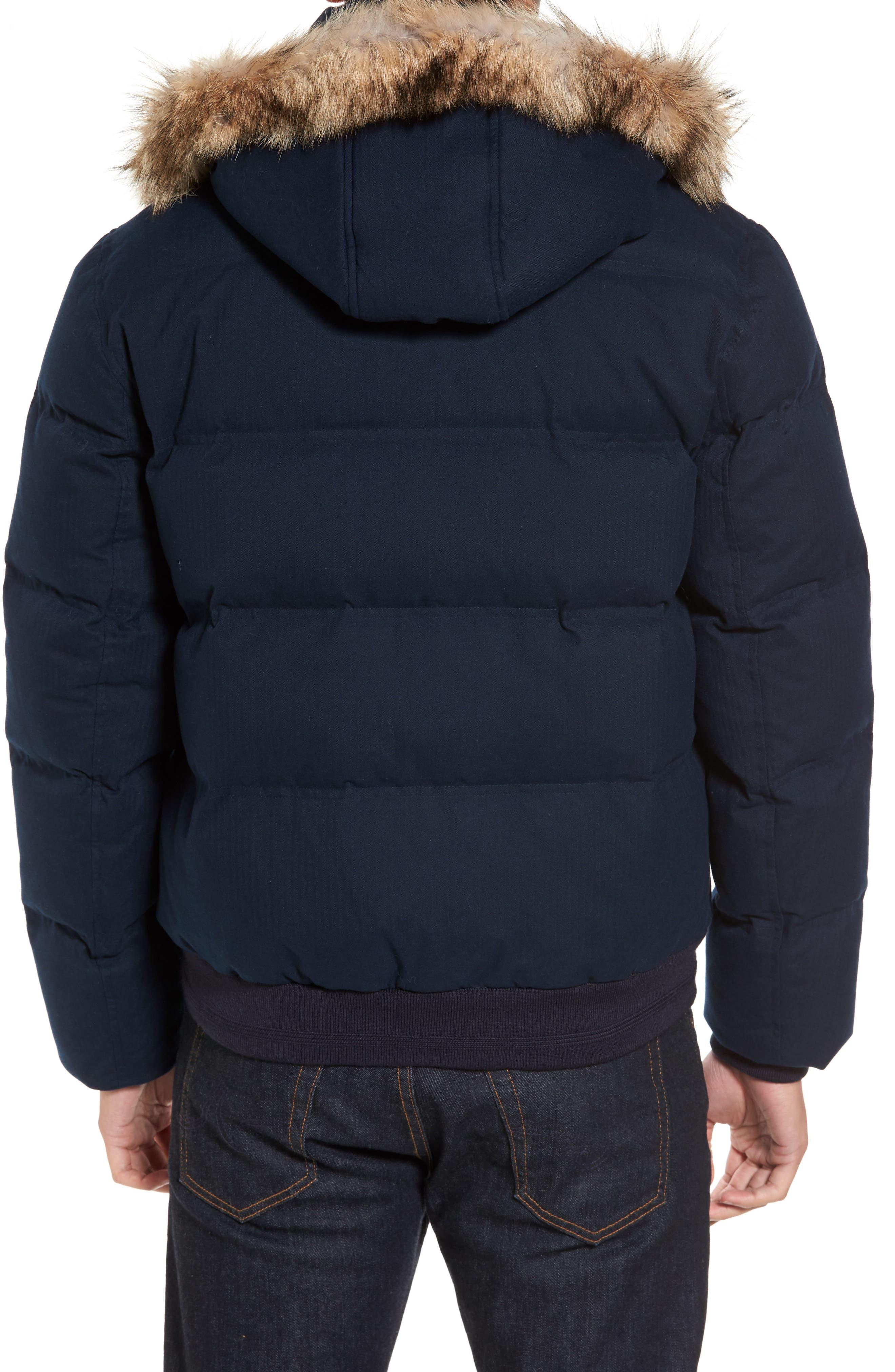 Alternate Image 2  - Marc New York Down Herringbone Jacket with Genuine Coyote Fur Trim