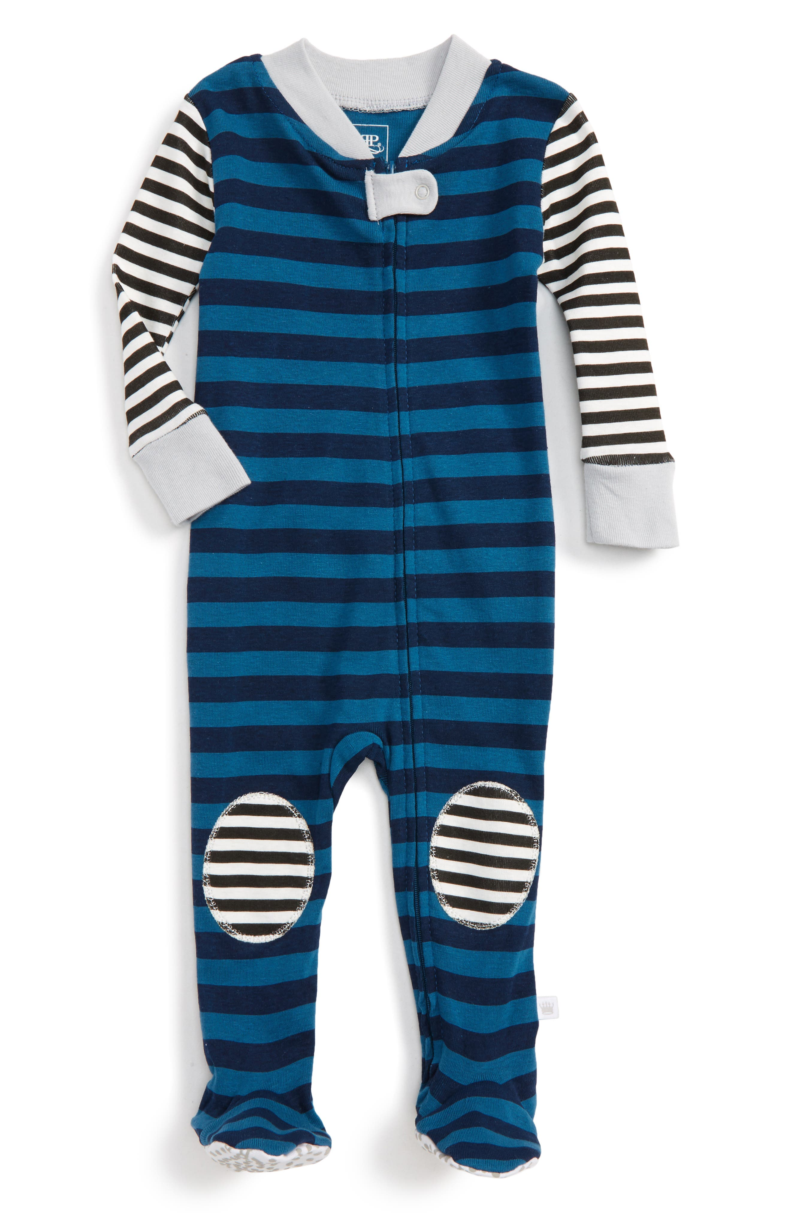 Rosie Pope Stripe Fitted One-Piece Footed Pajamas (Baby Boys)