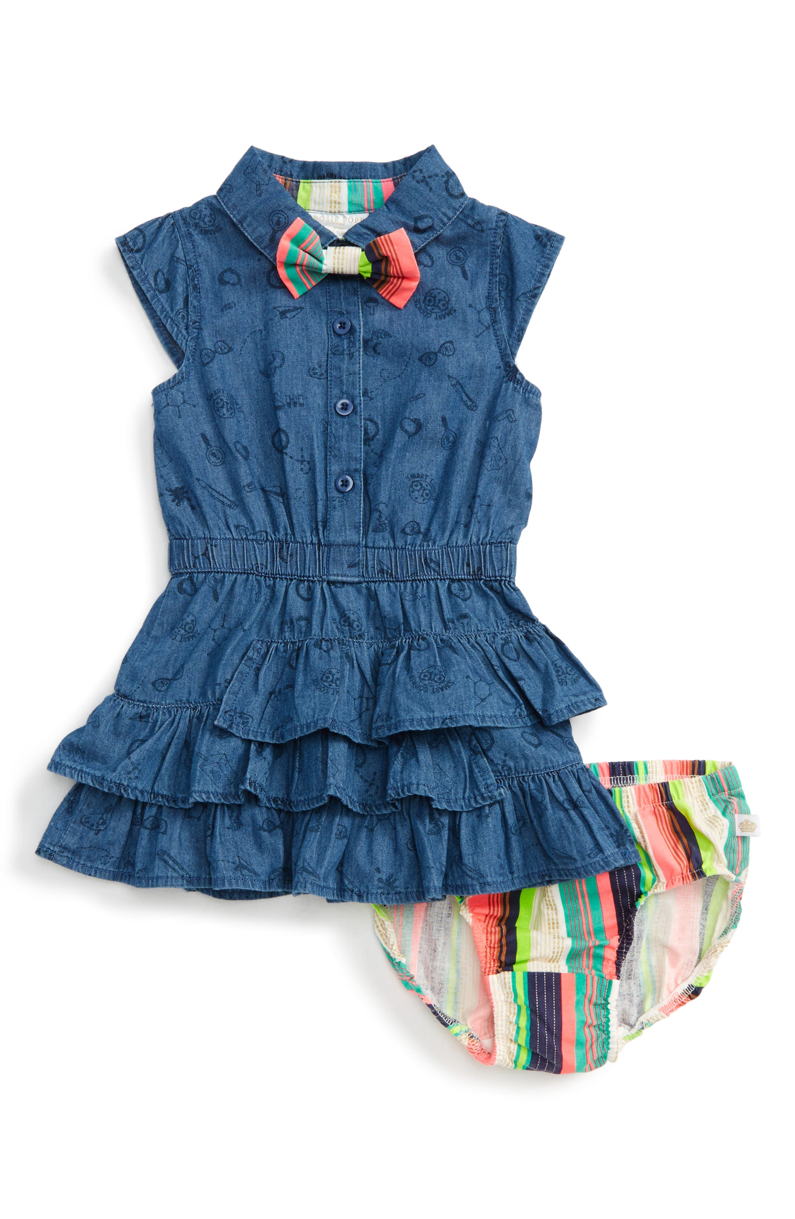 Alternate Image 1 Selected - Rosie Pope Ruffle Chambray Dress (Baby Girls)