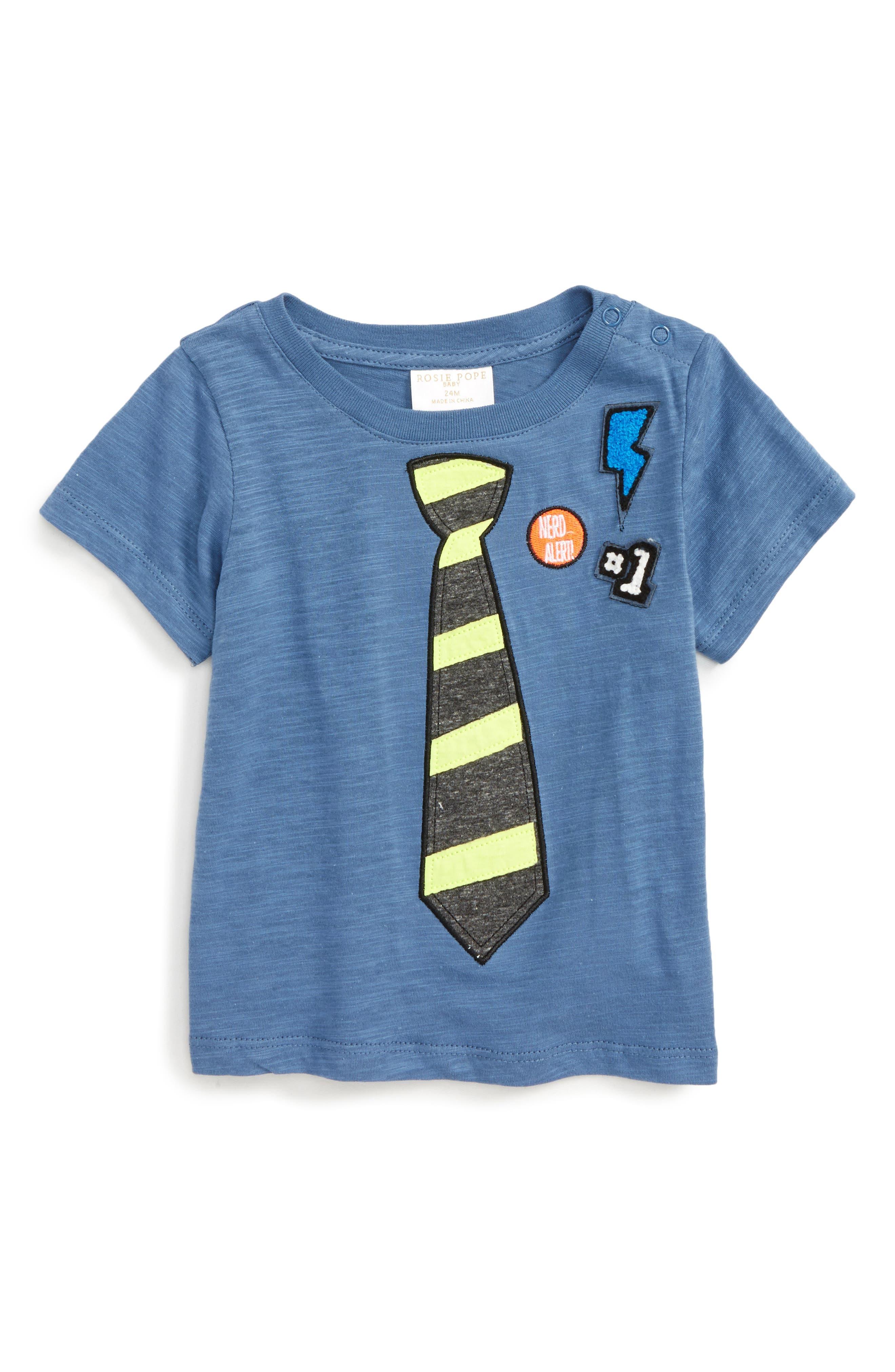 Appliqué T-Shirt,                         Main,                         color, Blue