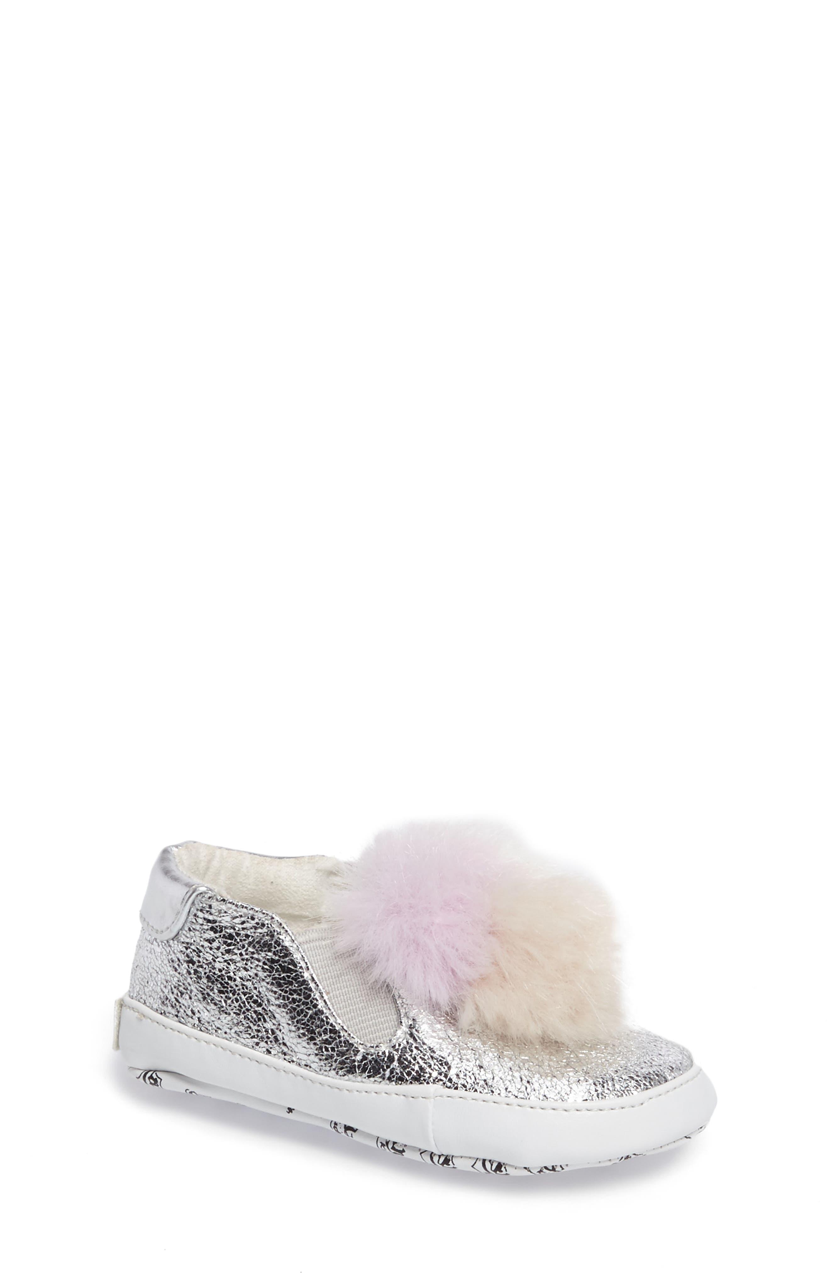 ASH Baby Pompom Metallic Faux Fur Crib Shoe