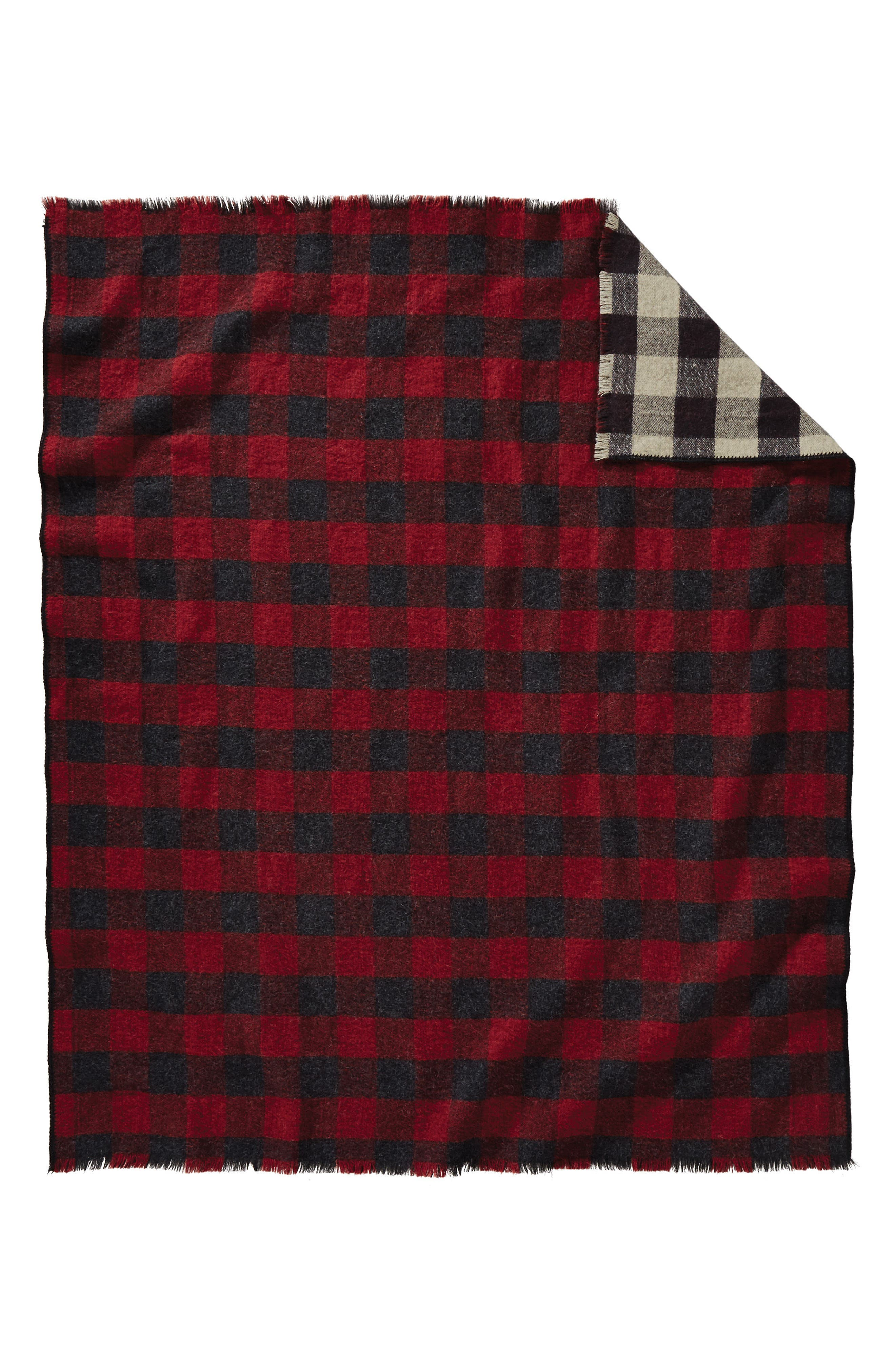 Rob Roy Reversible Double Weave Wool Throw,                             Alternate thumbnail 2, color,                             Red/ Black