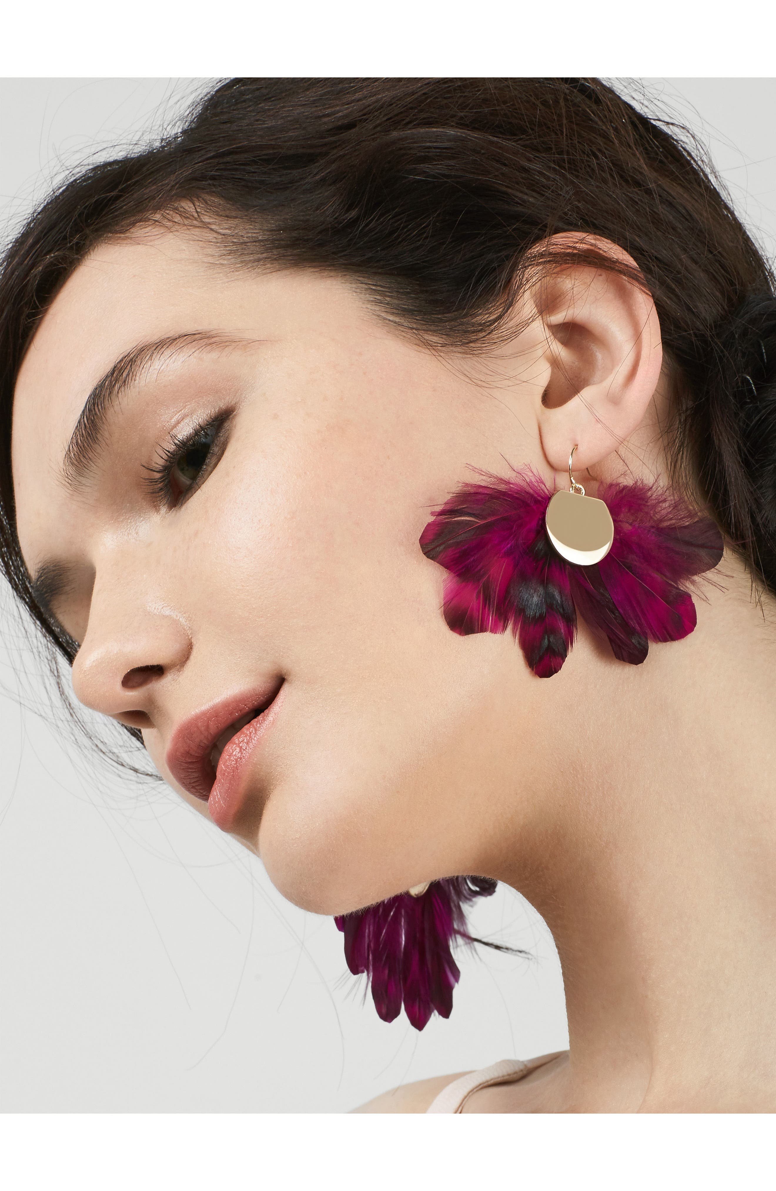 Monarch Feather Statement Earrings,                             Alternate thumbnail 2, color,                             Fuchsia